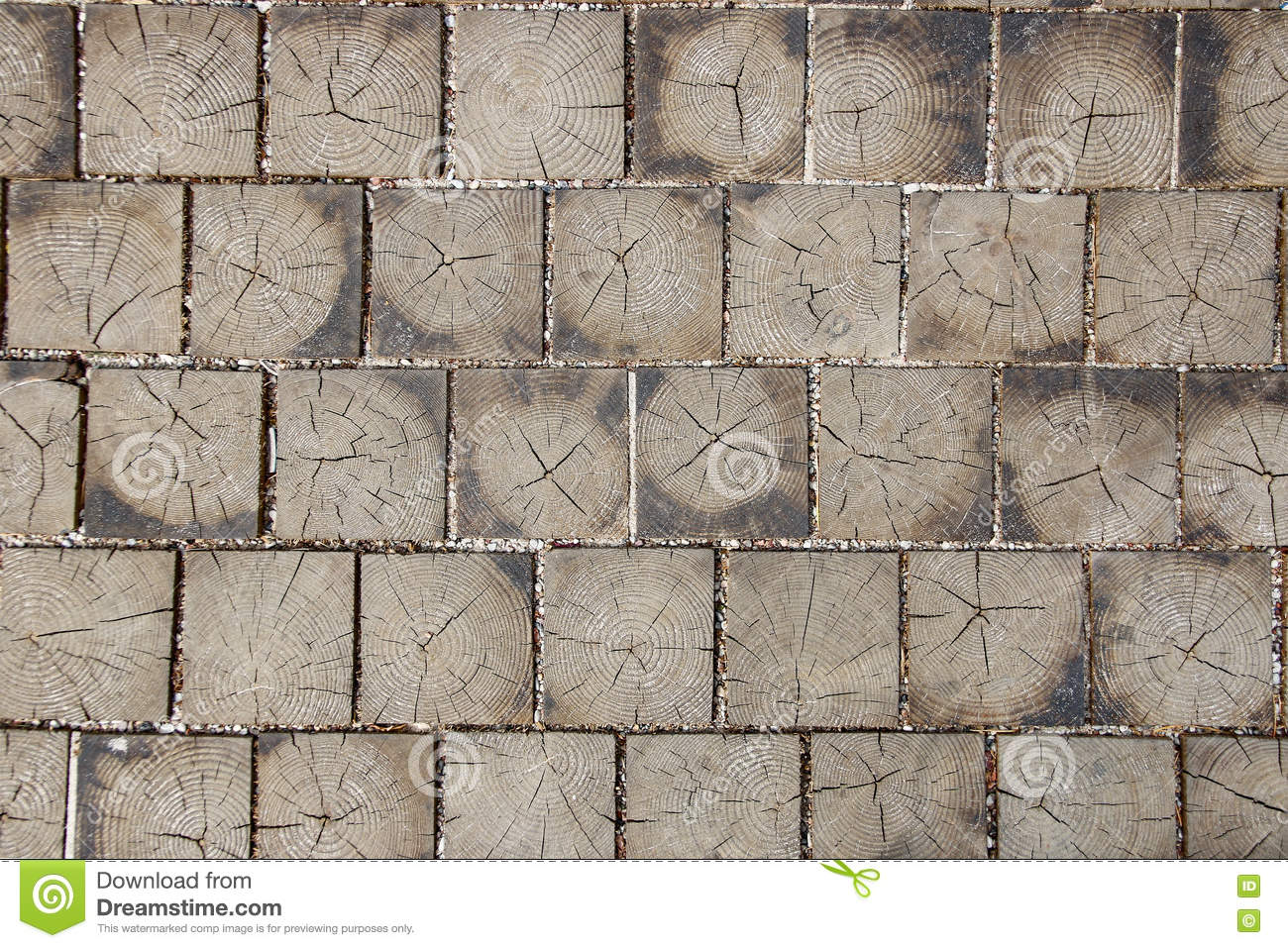 Paving Tile Made Of Wood With Natural Patterns Background Stock