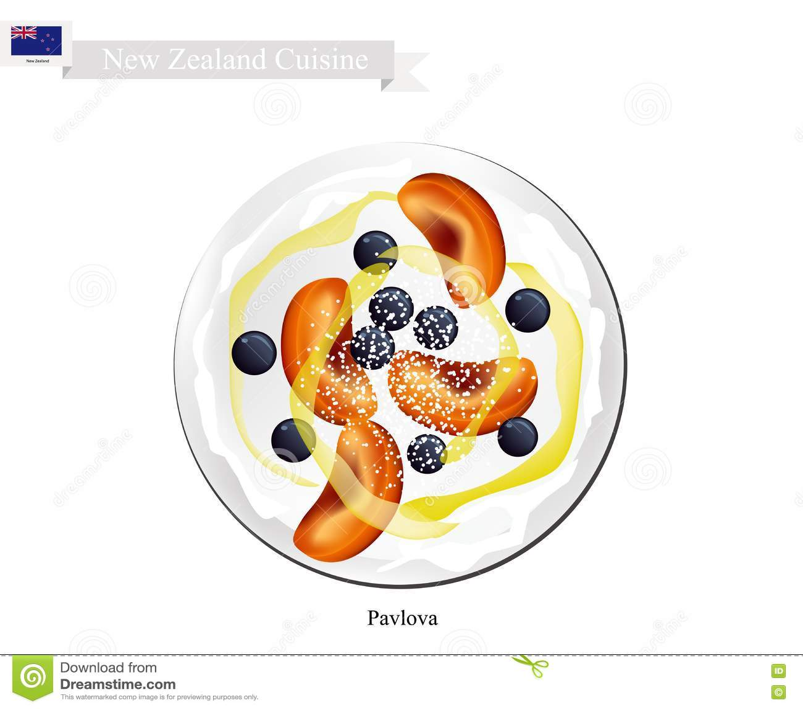 Pavlova Bezy Tort Z Dojrzałymi Owoc Nowa Zelandia Deser
