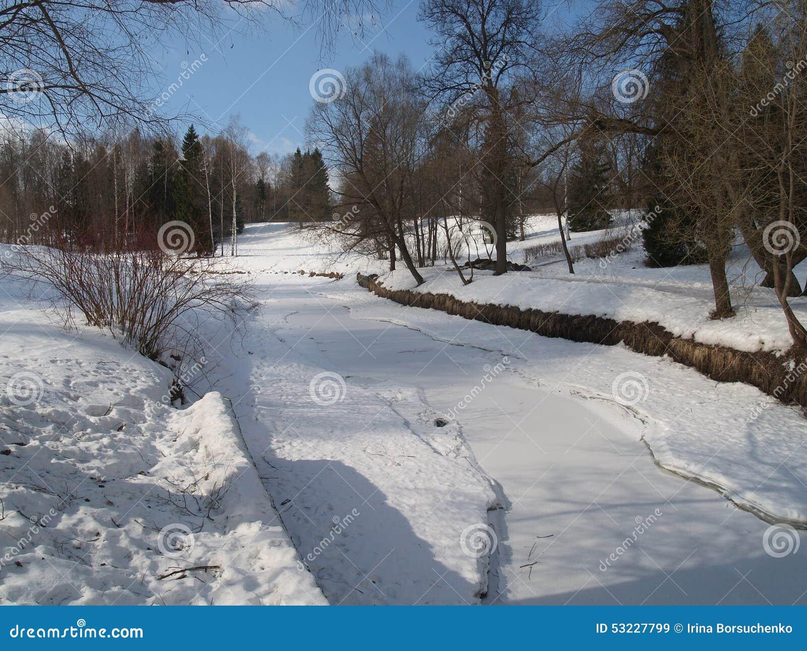 Pavlovsk El río Slavyanka en parque del invierno