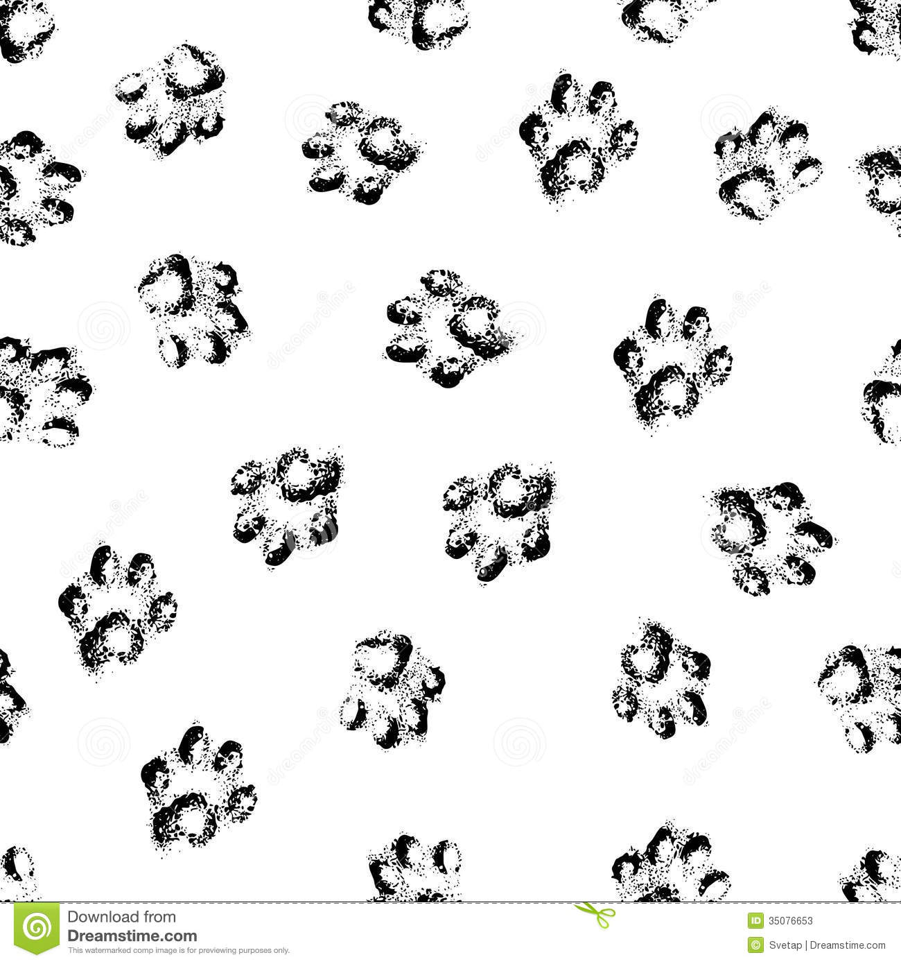 Paw Grunge Footprint Of Dog Or Cat Seamless Pattern