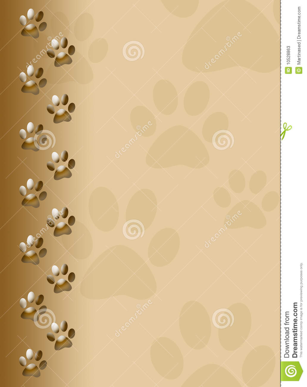 Colorful Cat Paw Print Border Cute cat paw print on brown