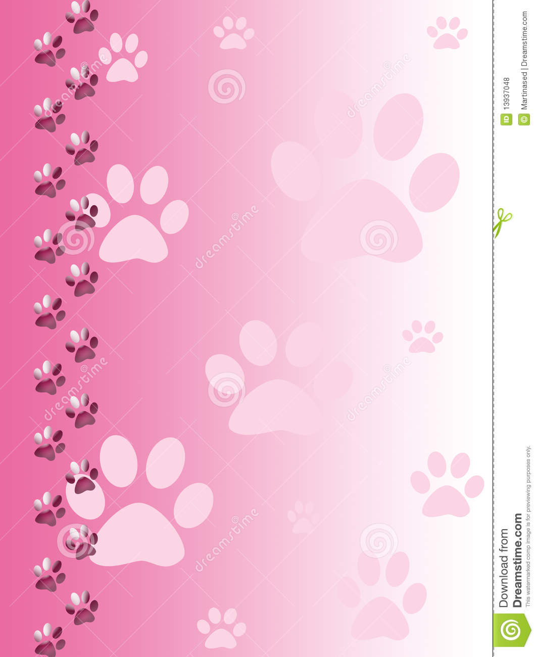 Cat Paw Print Border Paw print border, cute pink cat paw print ...