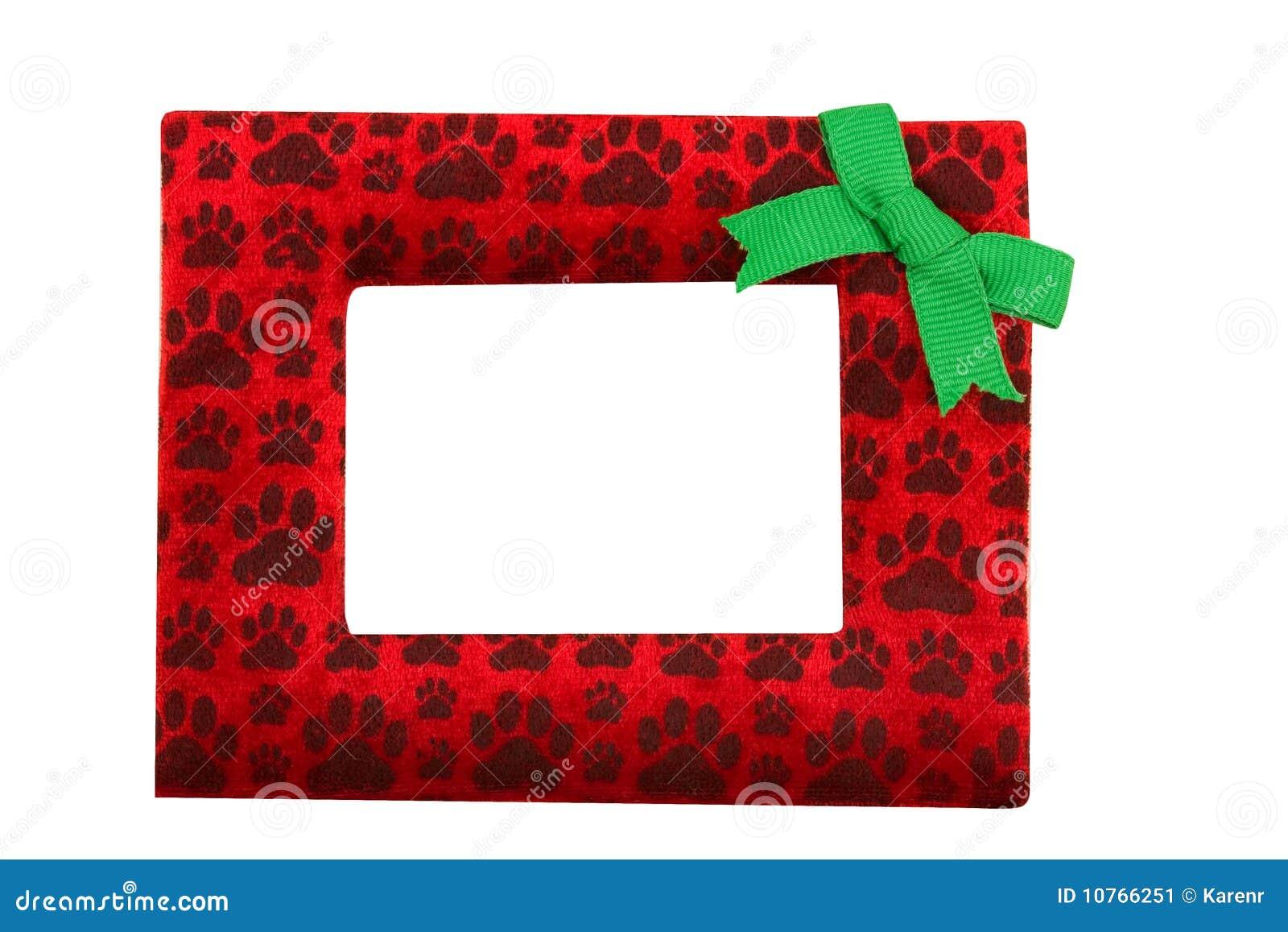 Red And Green Christmas Dog Paw Print Border