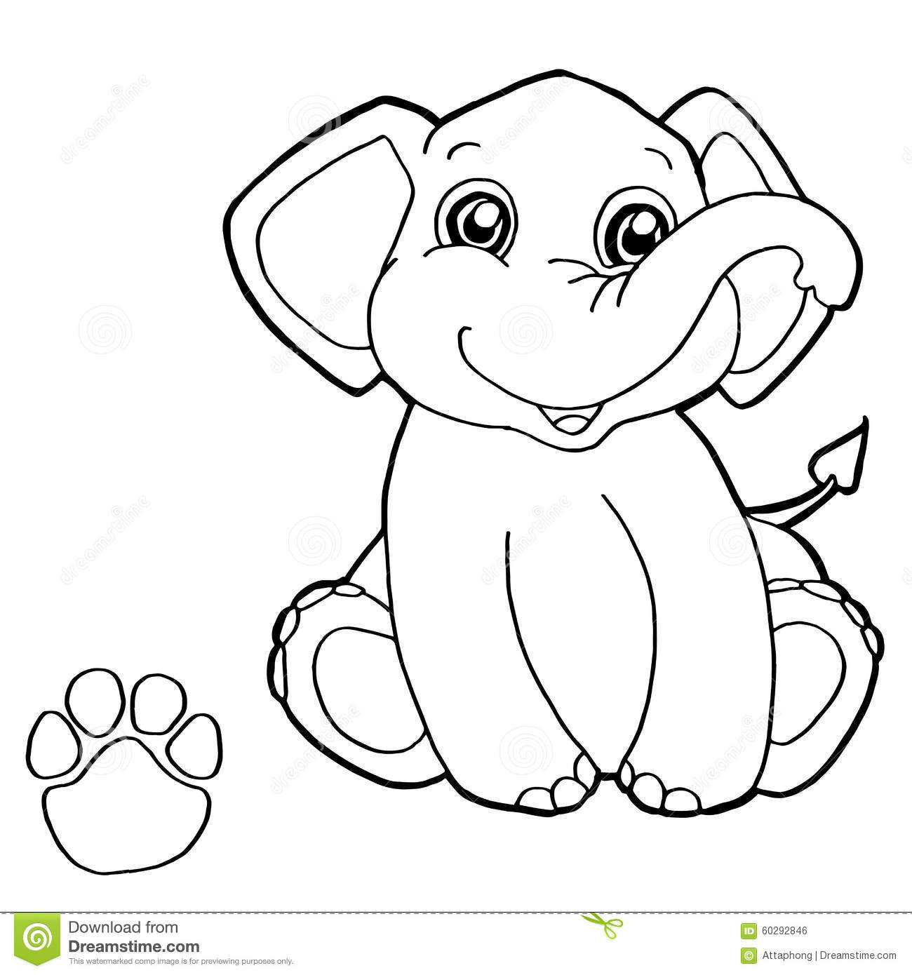 Coloring Elephant Image Page Paw Print