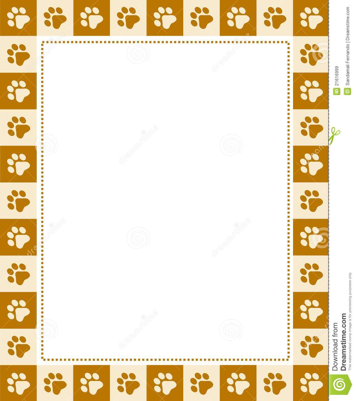 Cute pets [dogs and cats] paw prints border / frame.