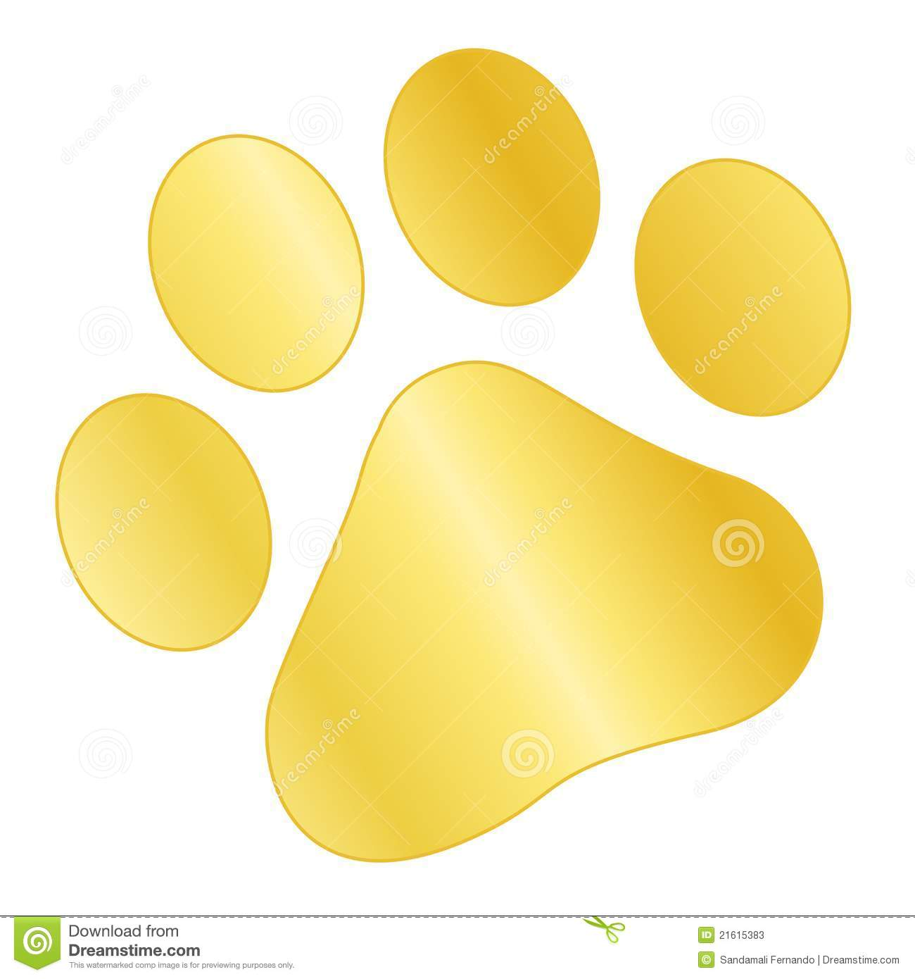 Cute pets [dogs and cats] paw print isolated on white background.