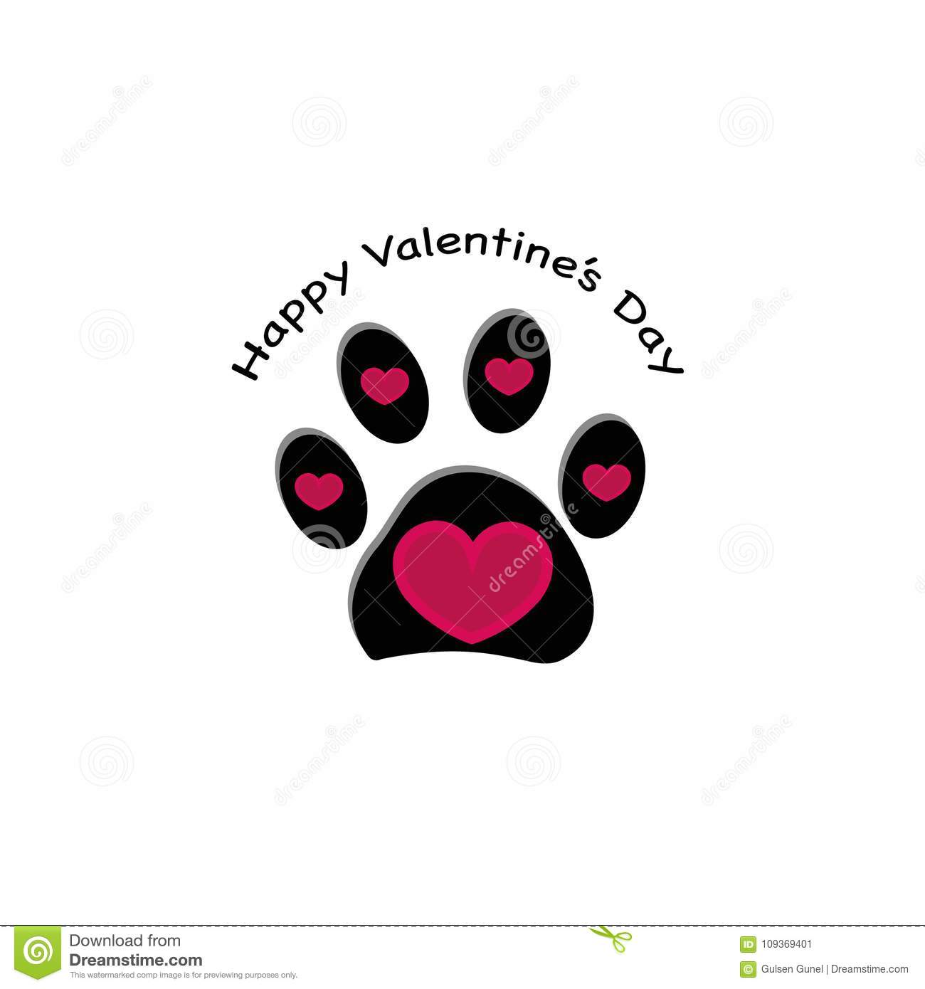 Paw print with hearts and ``Happy Valentine`s Day`` text. Happy Valentine`s day greeting card