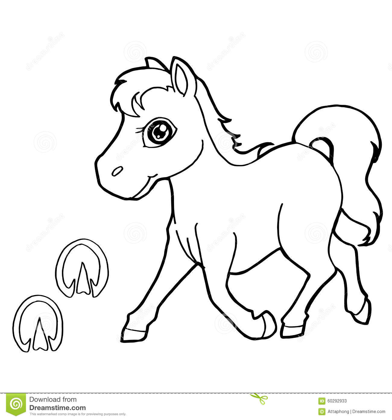 paw print with horse coloring pages vector stock vector image