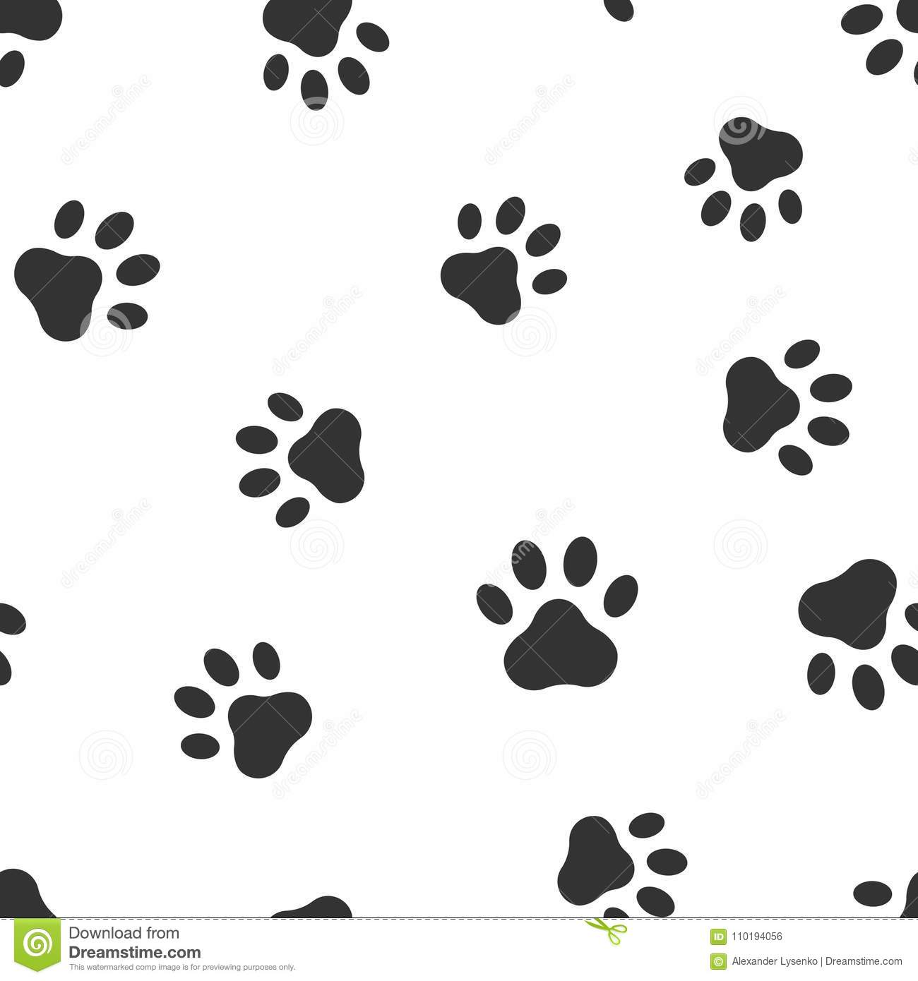 e418ff752a12 Paw print icon seamless pattern background. Business flat vector  illustration. Dog, cat, bear paw sign symbol pattern.