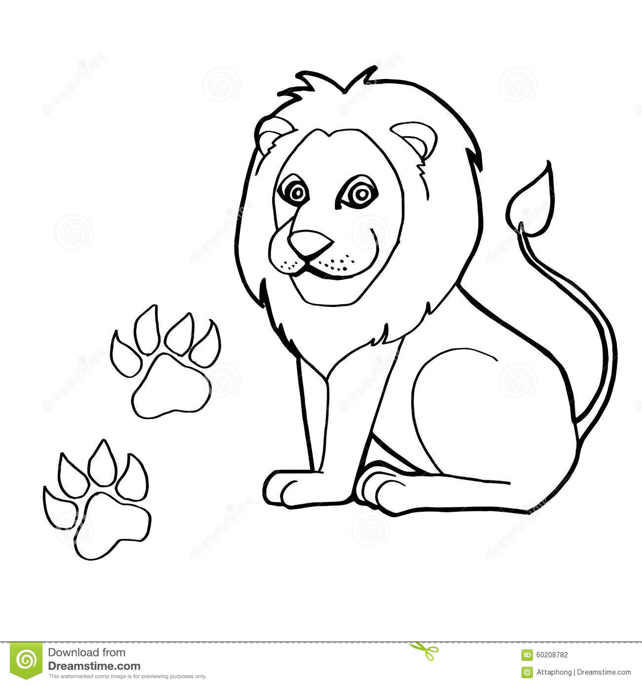 Paw Print With Lion Coloring Pages Vector Stock Vector ...
