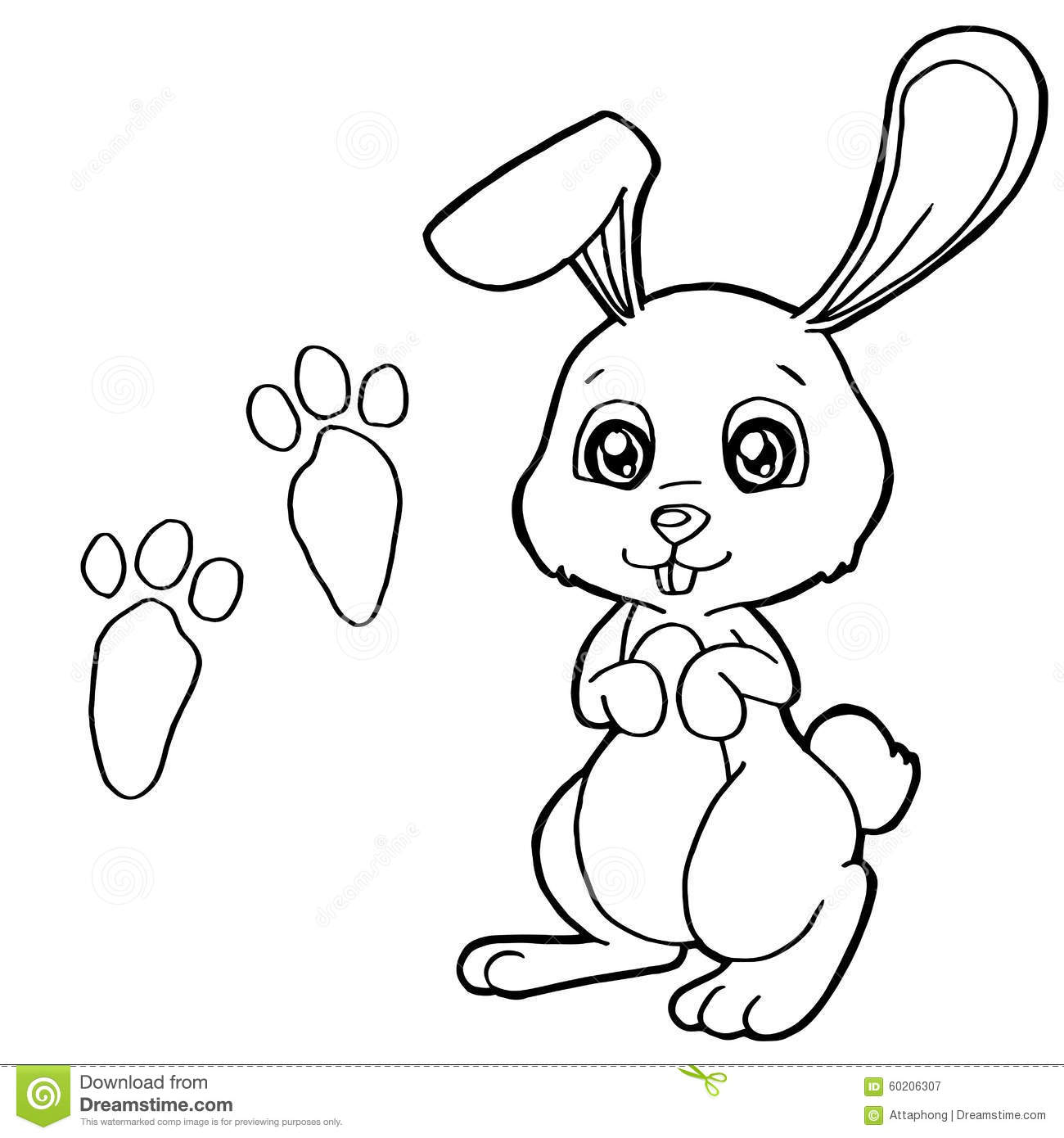 Paw Print With Rabbits Coloring Pages Vector Stock Vector ...