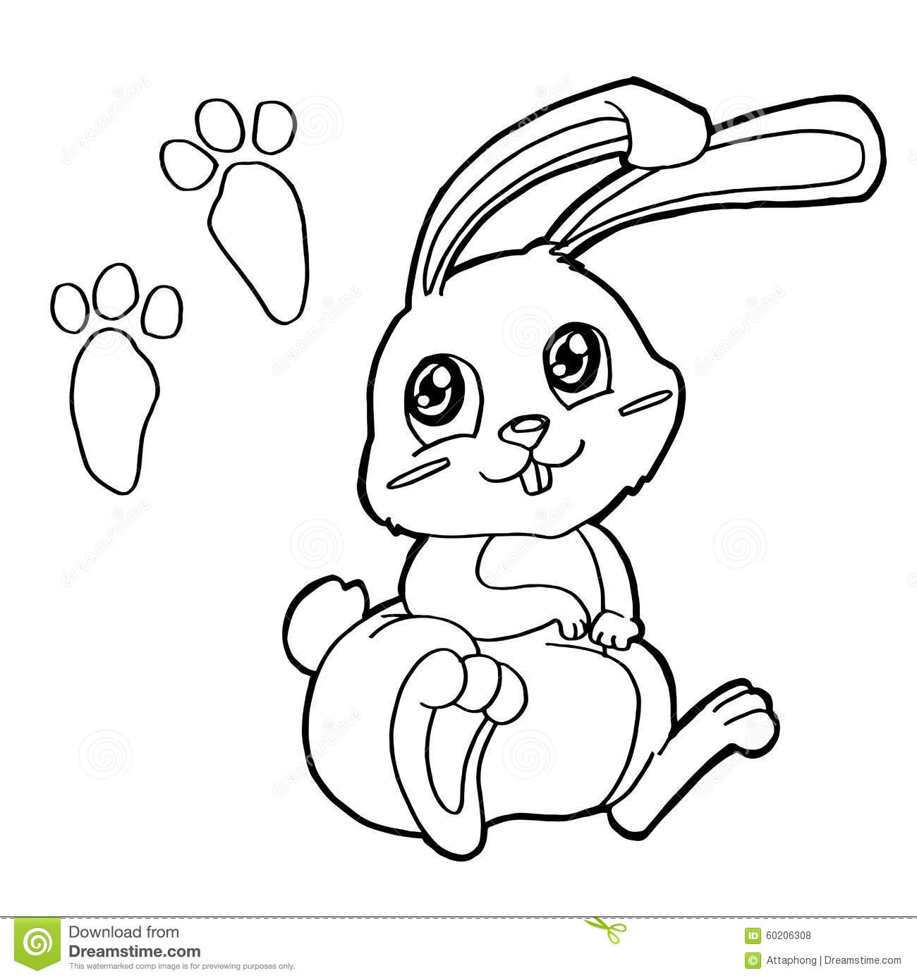 Paw Print With Rabbits Coloring Pages Vector Stock