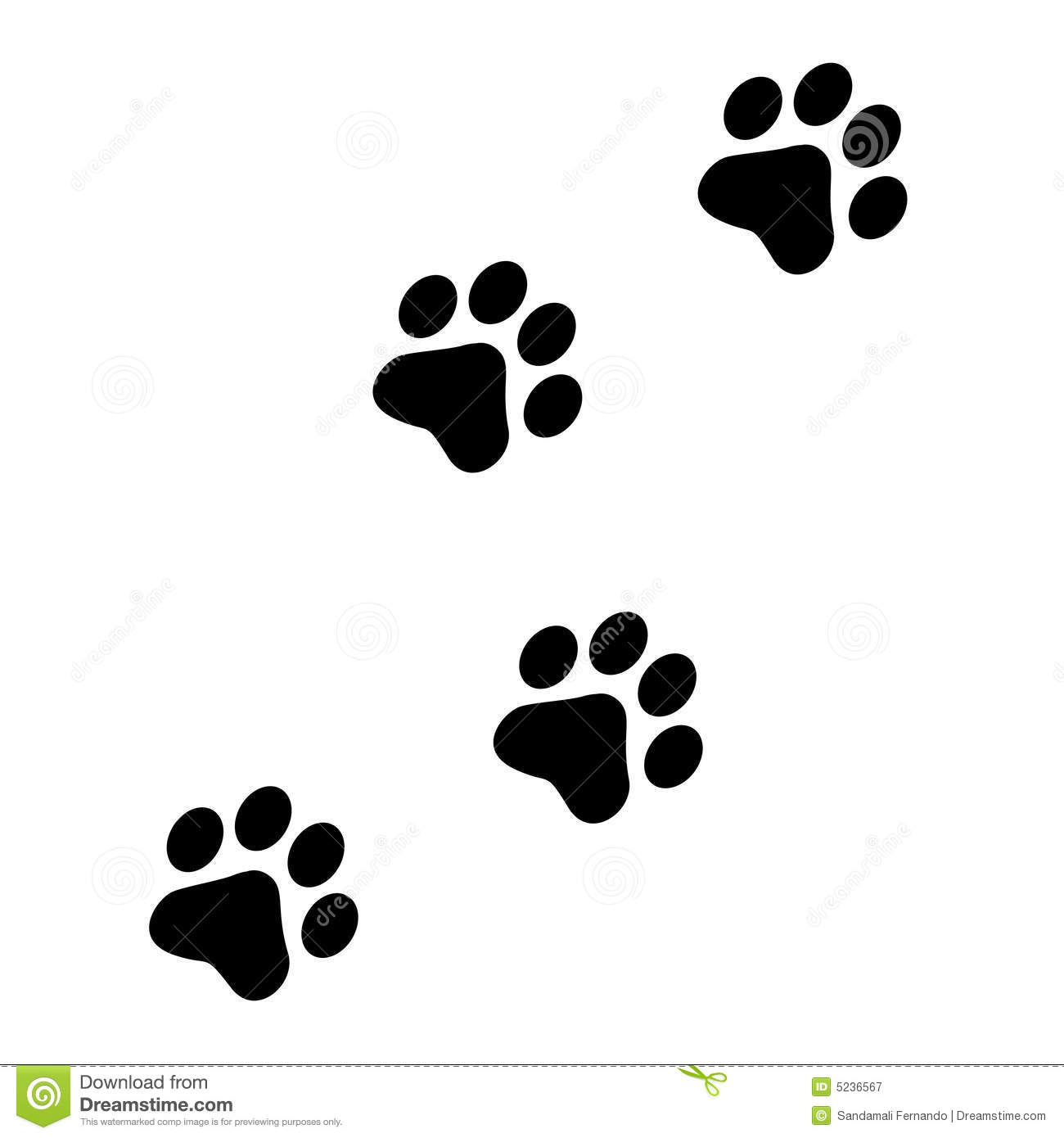 Paw Prints Stock Vector Illustration Of Illustrated Animals 5236567