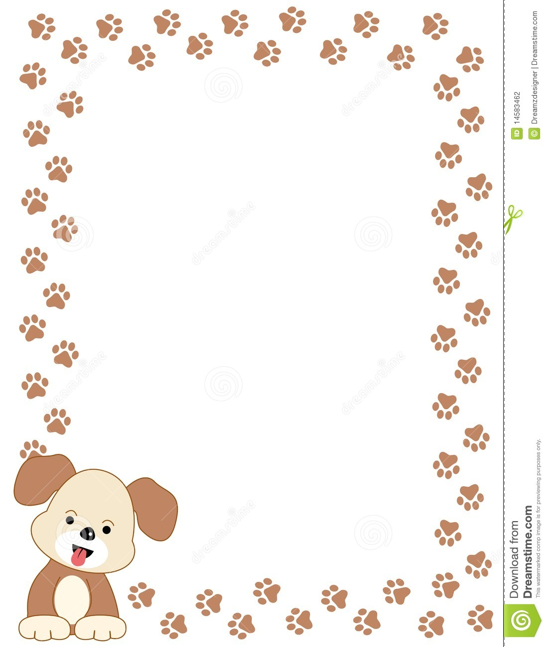 Cute pets [dogs] paw prints border with a cute brown dog.