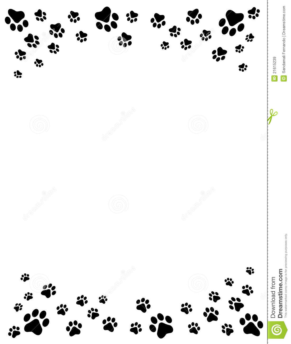 Paw Prints Border Royalty Free Stock Images - Image: 21615239