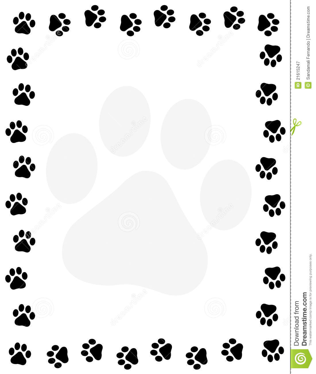 Paw Prints Border Royalty Free Stock Photography - Image: 21615247