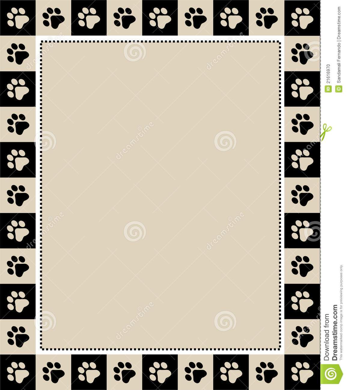 Cute pets [dogs and cats] paw prints border / frame. Dog Border