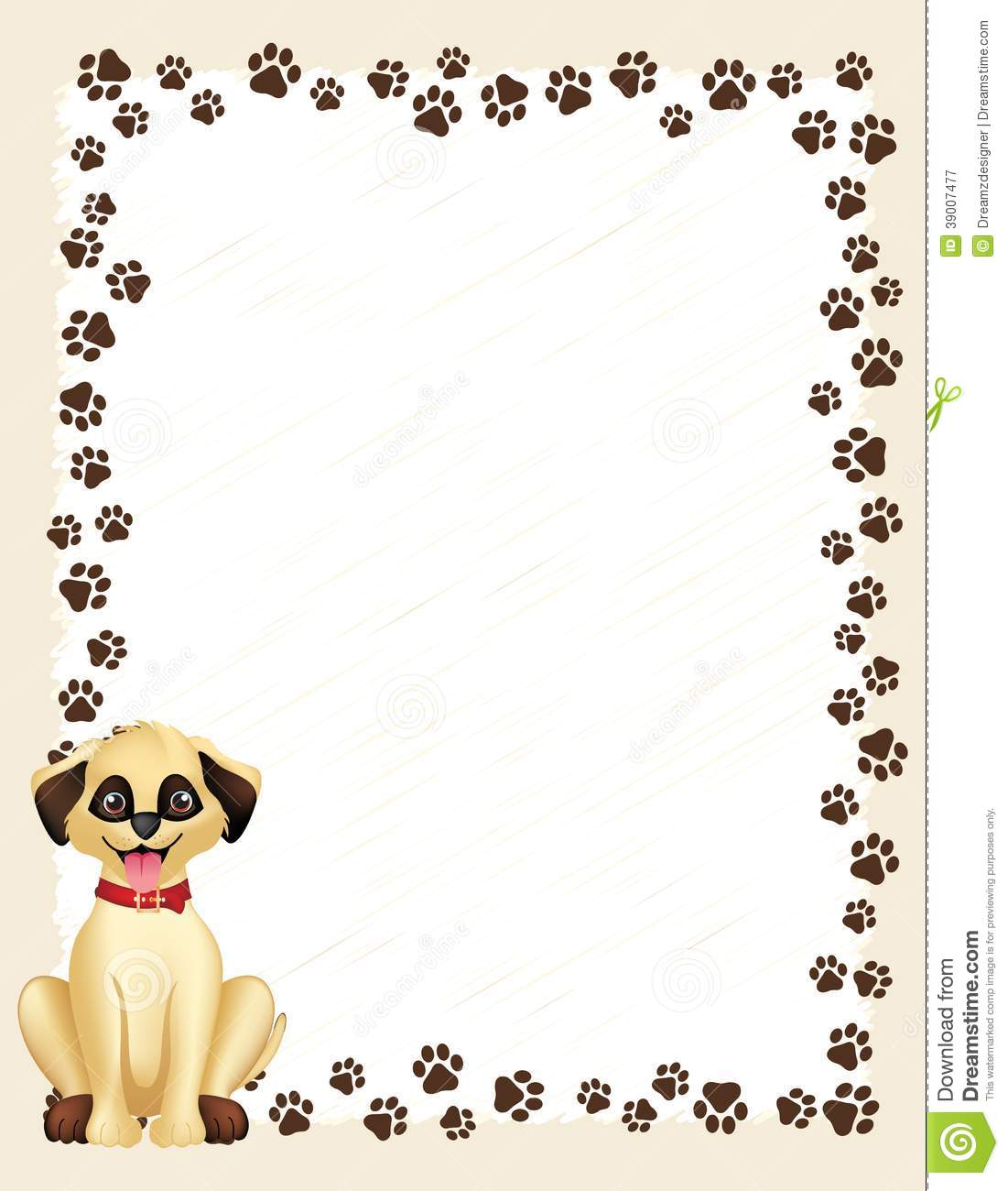 Dog paw prints border / frame on white background and cute dog.