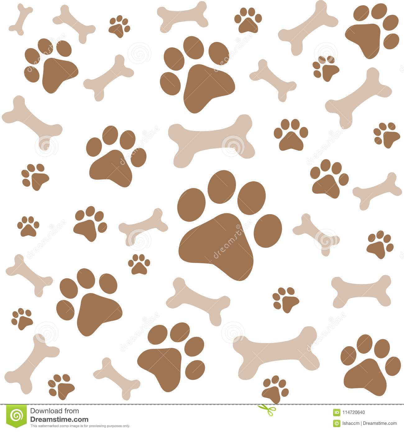 eac8a22b2342 Animal foot print vector background.Animal pattern. More similar stock  illustrations. Hand doodle seamless pattern with bones, dog paw ...