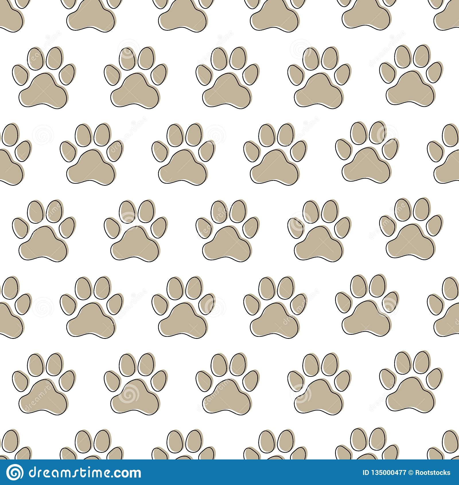 4178d27cb104 Paw prints seamless pattern. Animal dog paws. Vector illustration. More  similar stock illustrations