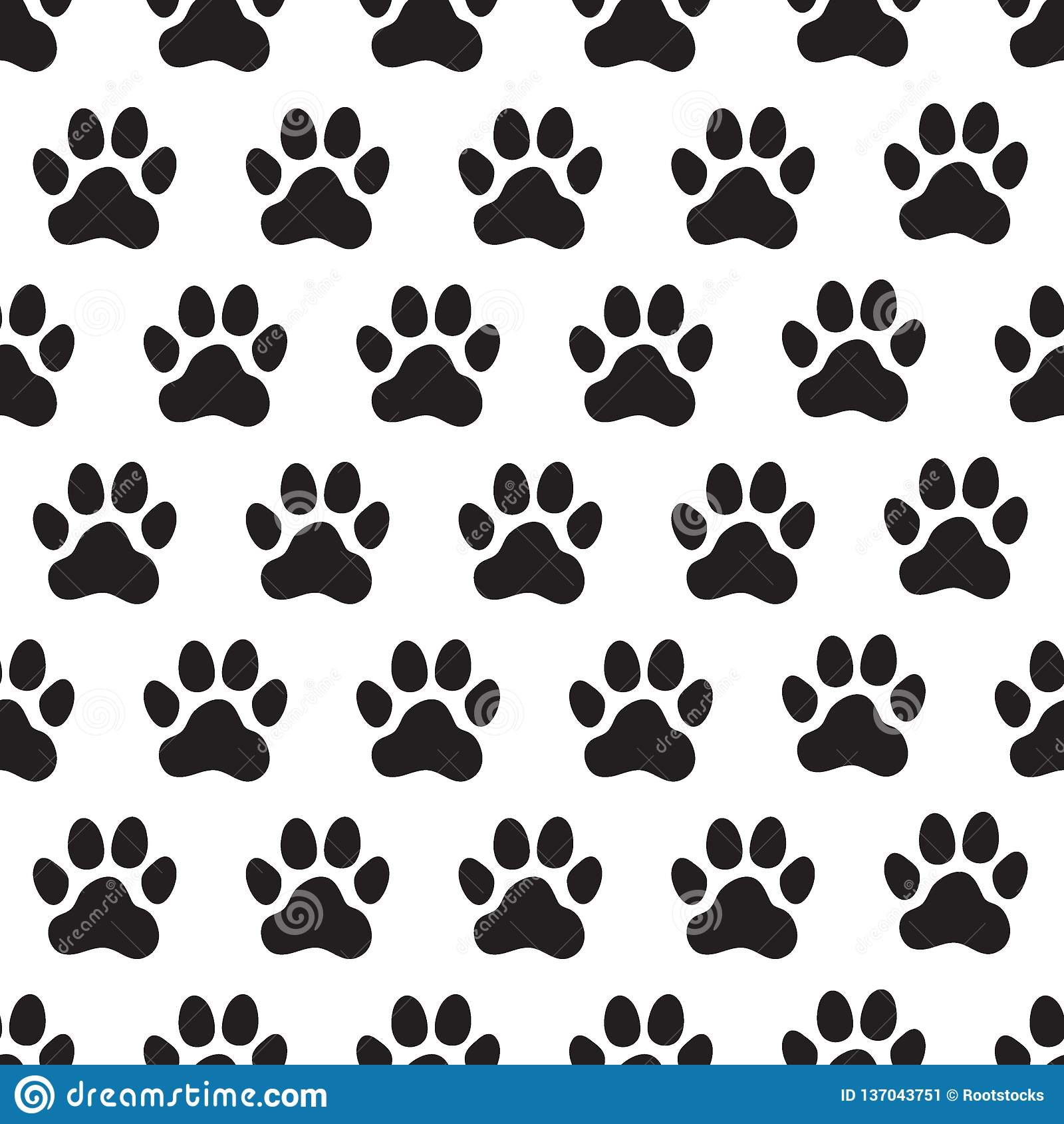 2aa4bc519db9 Paw prints seamless pattern. Animal`s dog`s paws. Vector illustration. More  similar stock illustrations