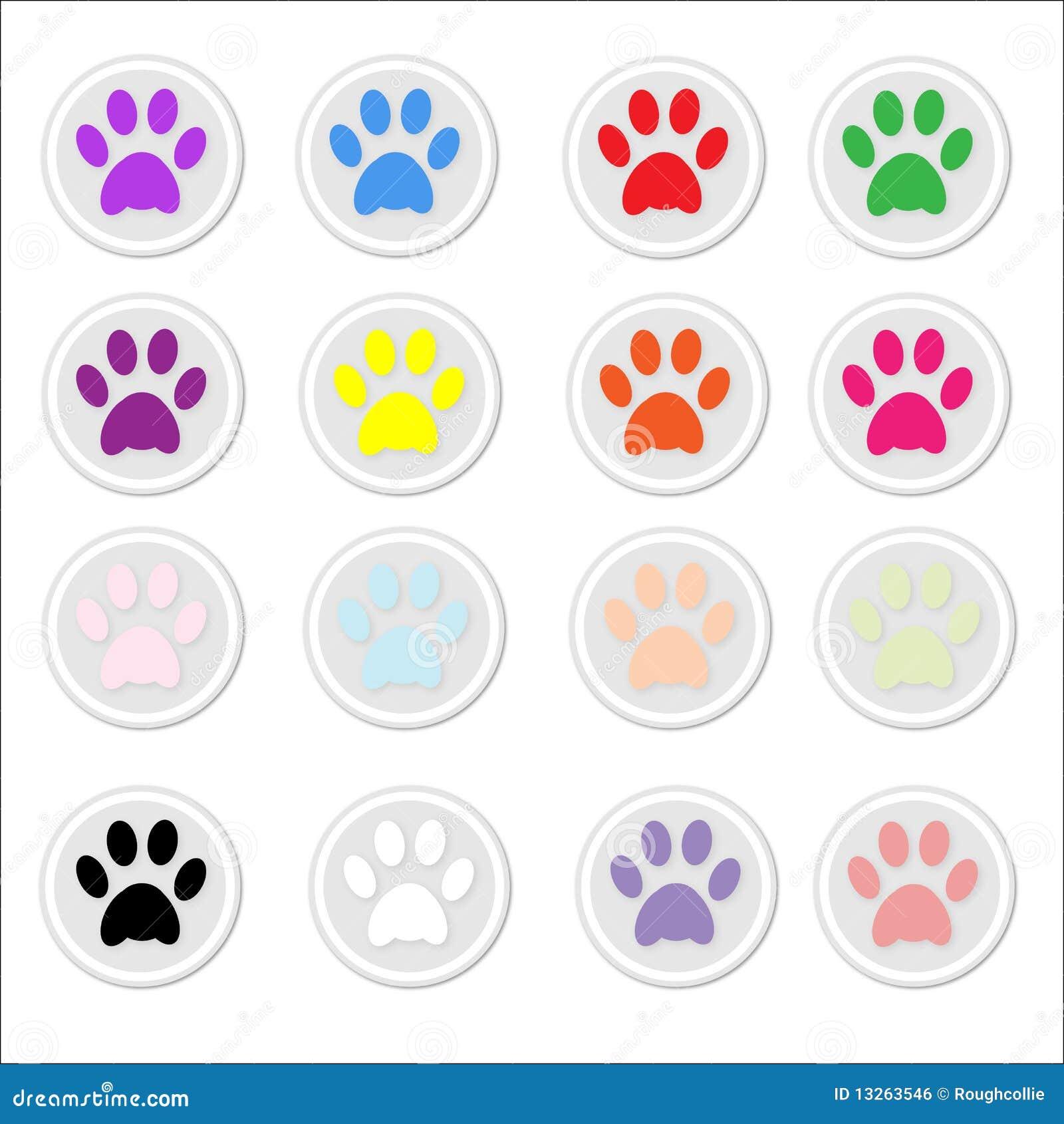 3bdea2aa60c2 Paw Prints on stickers stock vector. Illustration of illustration ...