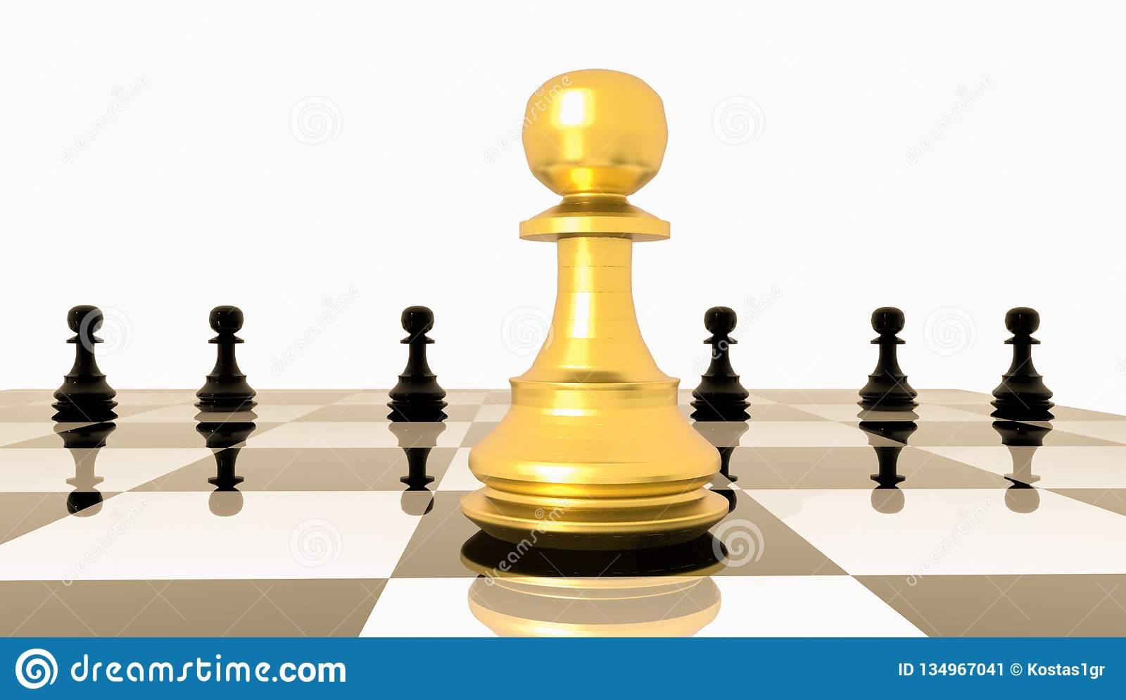 Pawn chess golden soldier one outstanding competitive advantage management - 3d rendering