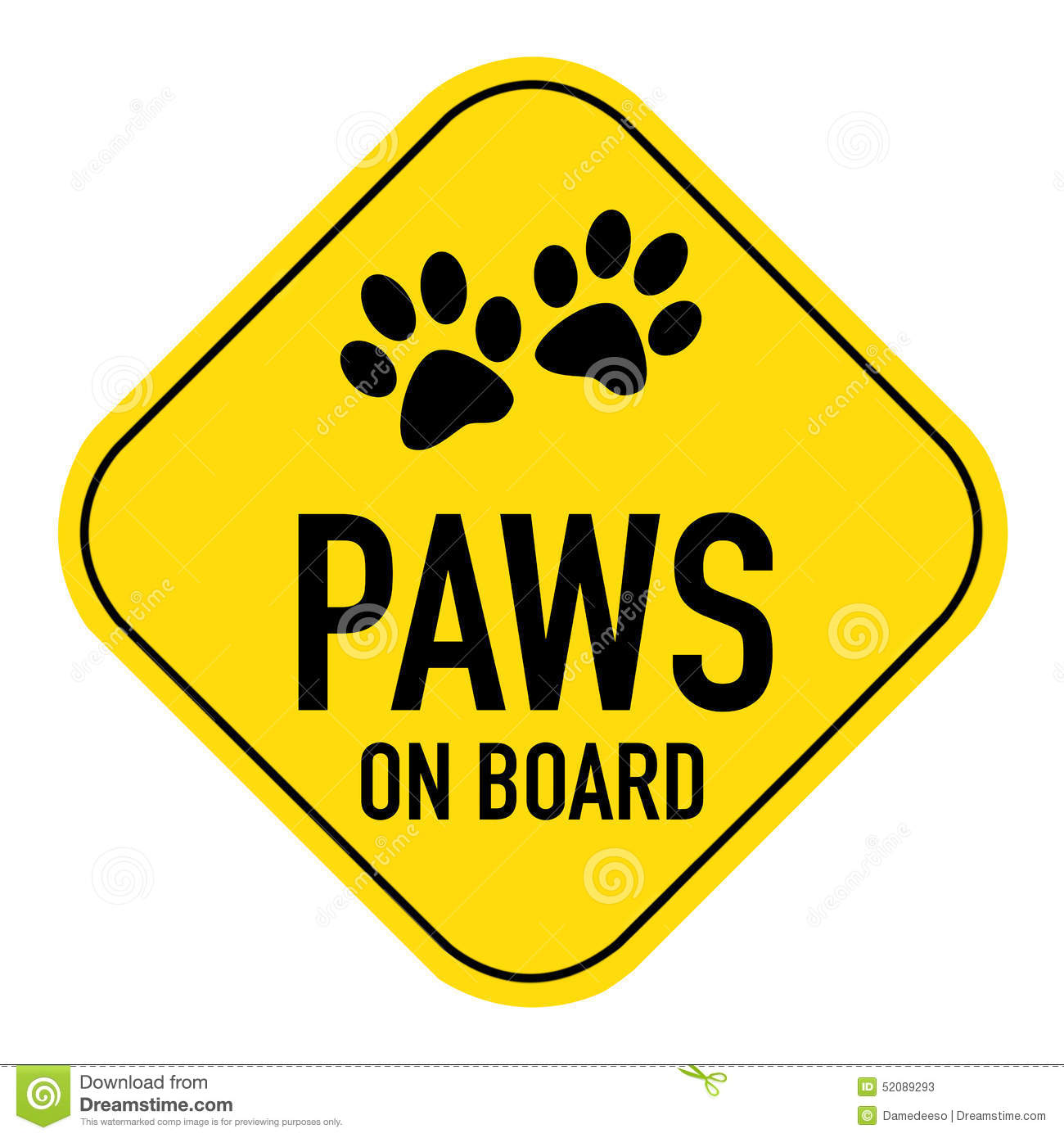 Paws Board Sign Silhouette Illustration Yellow Placard Showing Words Isolated White Background on Z Car Symbol