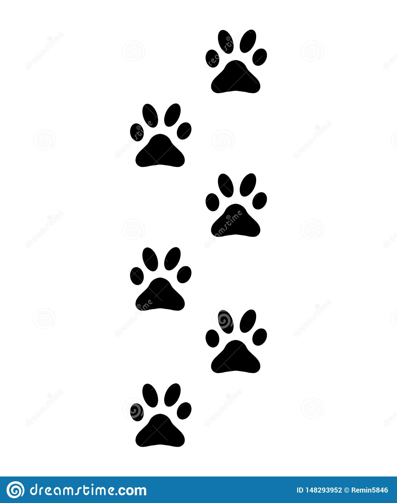 01eea29b1320 Paws, footprints, silhouette traces of cat, dog - vector Illustration