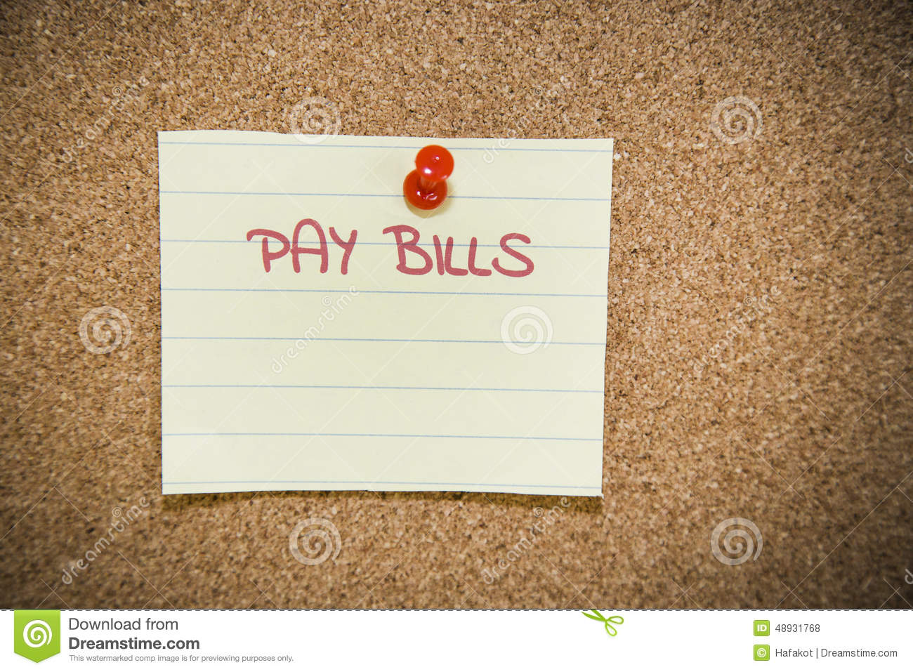 pay bills note on a bulletin board stock photo image 48931768 pay bills note on a bulletin board