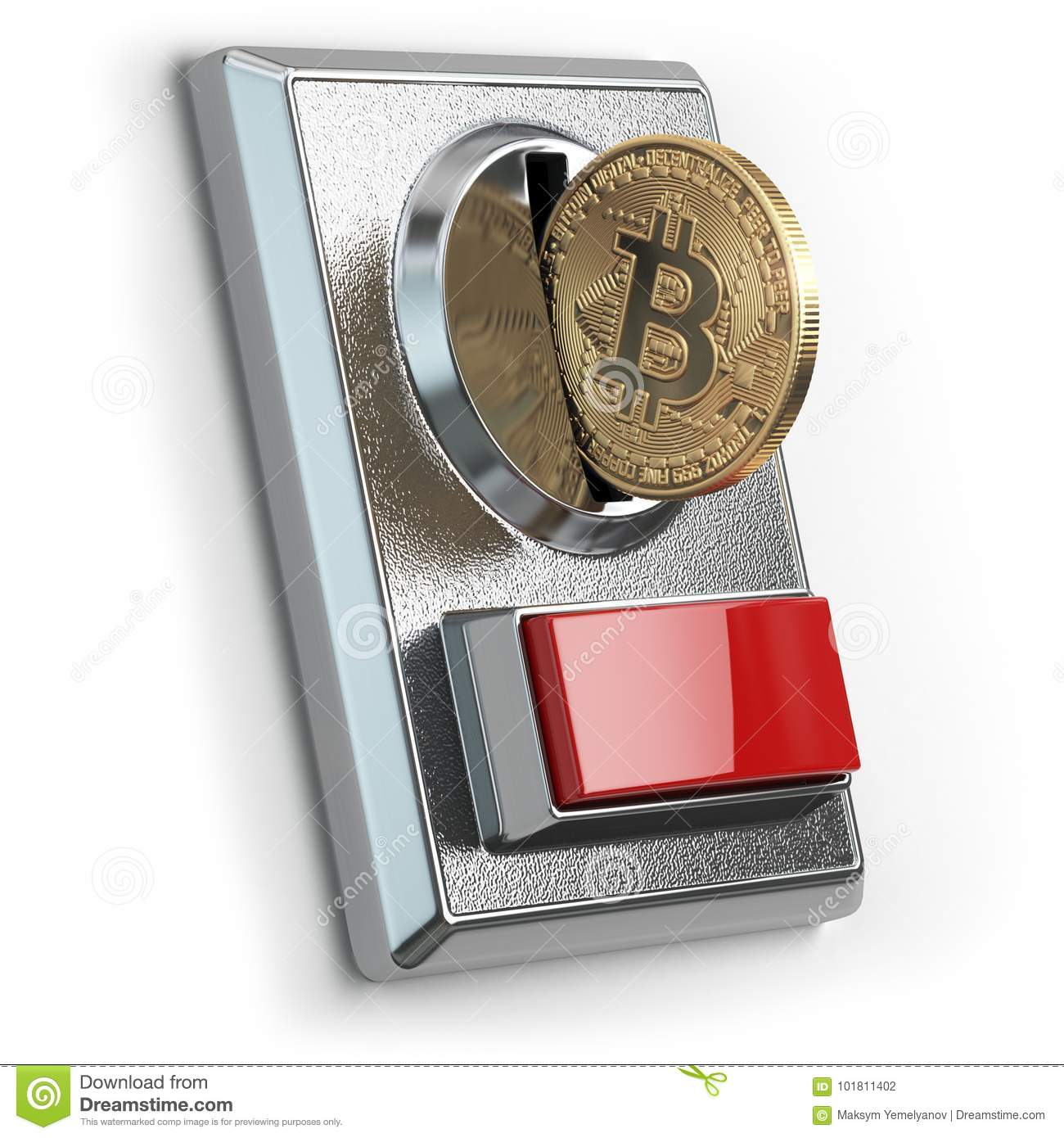 Pay by bitcoin concept. BItcoin coin and coin acceptor isolated
