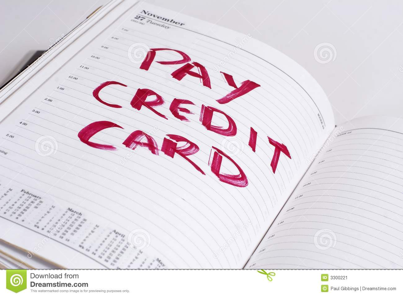 Pay Credit Card Bill Stock Image Image Of Bills Diary