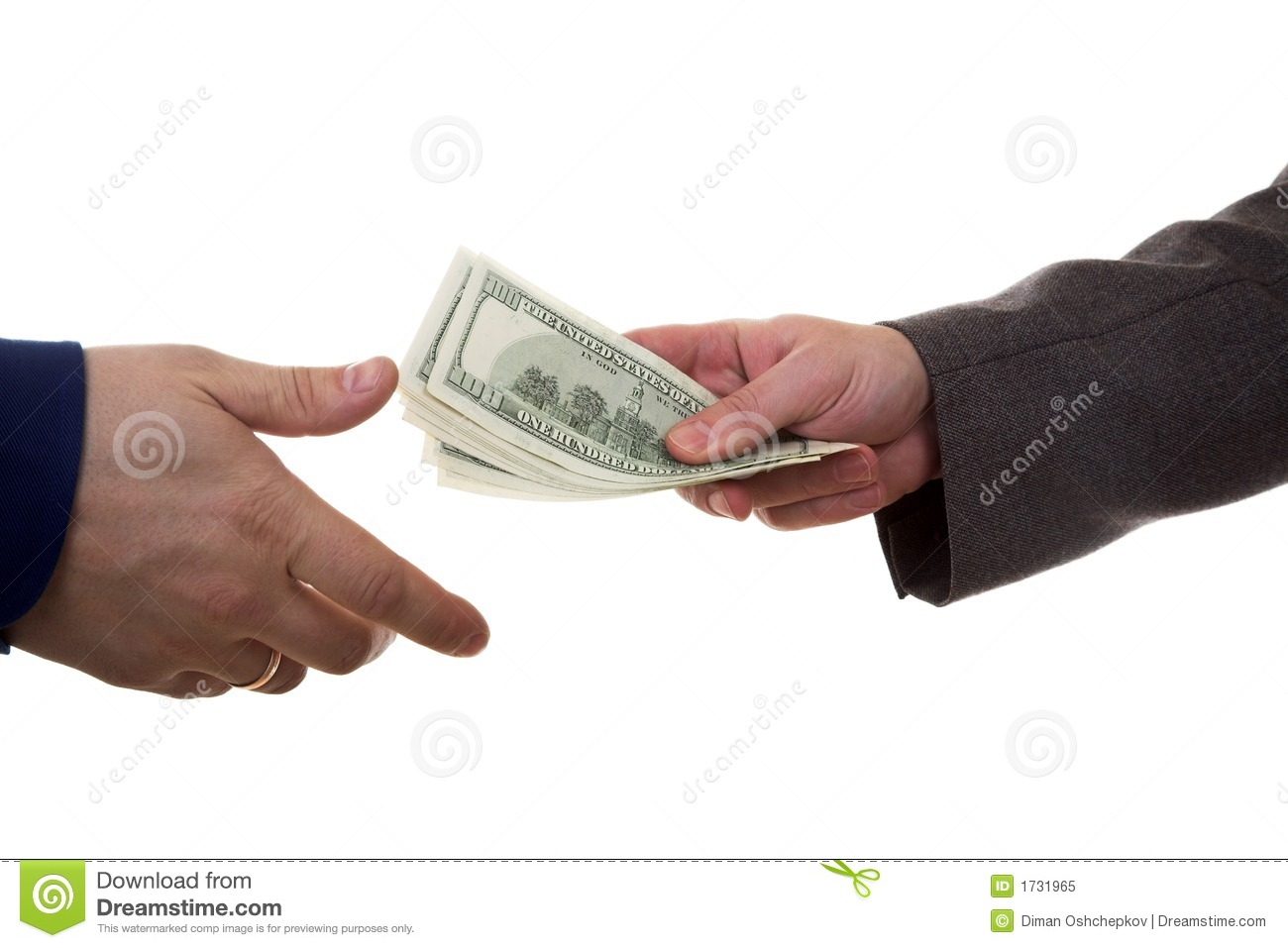 Hands of two men giving and taking dollars (Pay money).