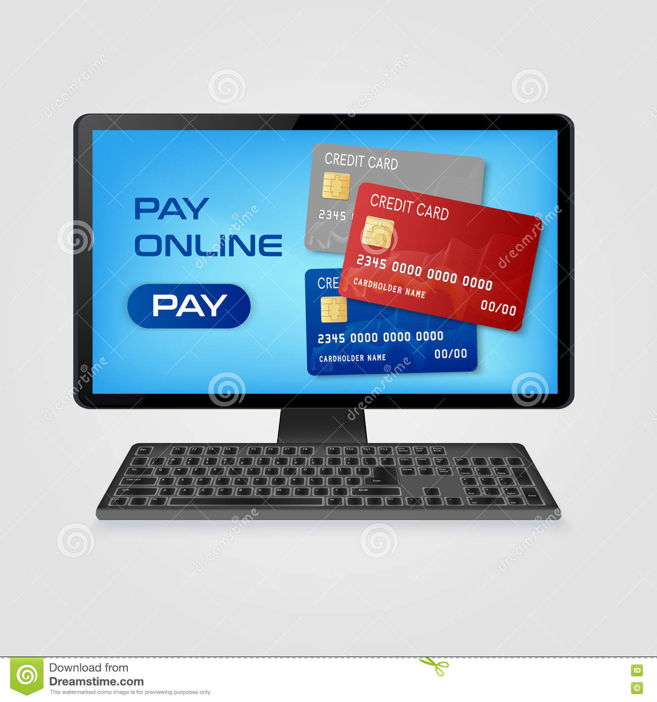 Pay Online And Online Shopping Concept - Computer With ...