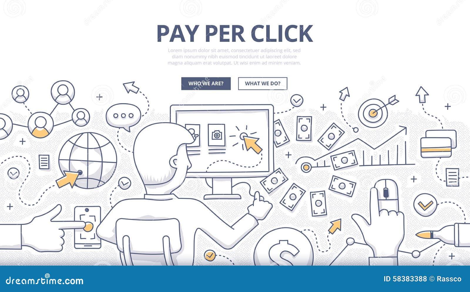 Pay Per Click Doodle Concept
