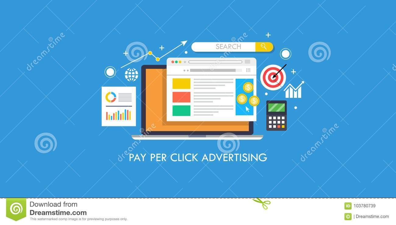 Pay per Click - Suchmaschinemarketing - digitale Anzeige flache Design PPC-Fahne
