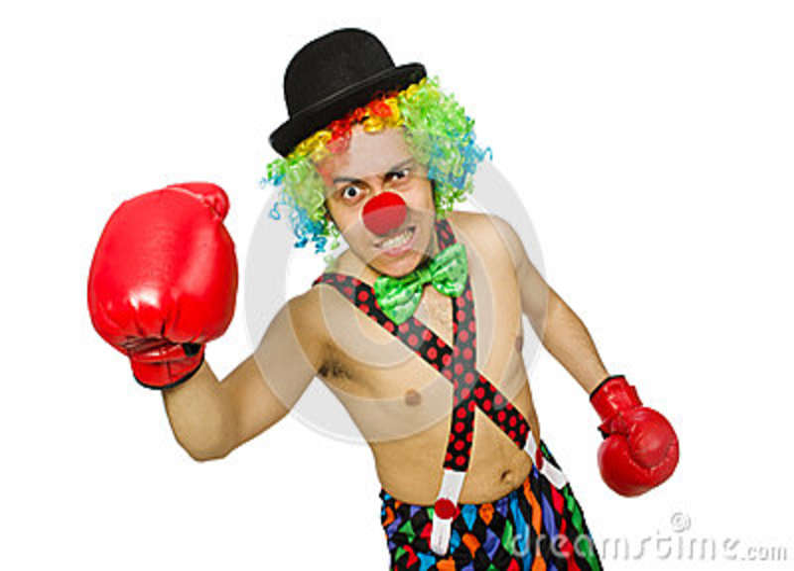 Payaso con los guantes de boxeo aislados