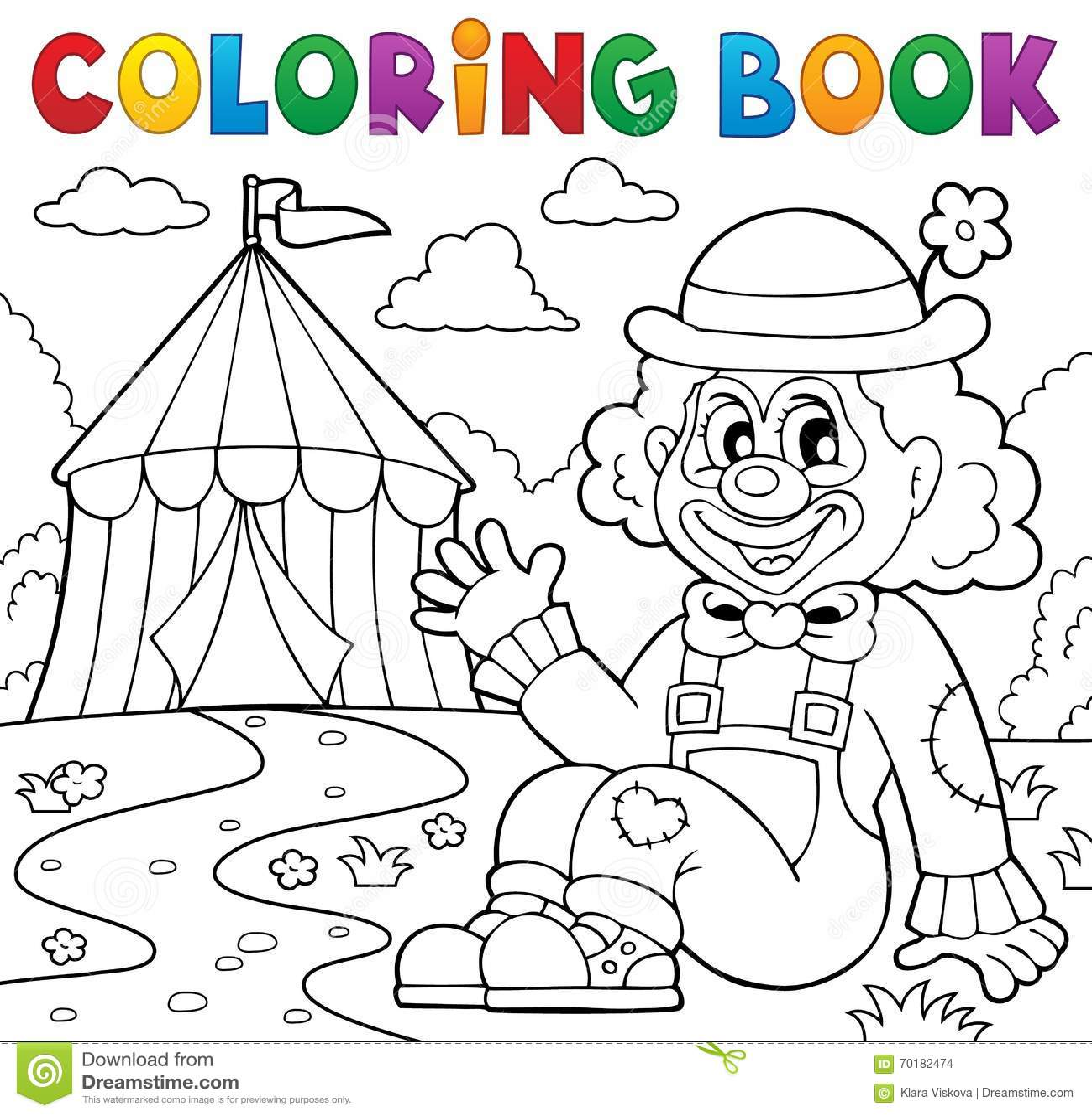 Payaso Del Libro De Colorear Cerca Del Tema 2 Del Circo Ilustración ...