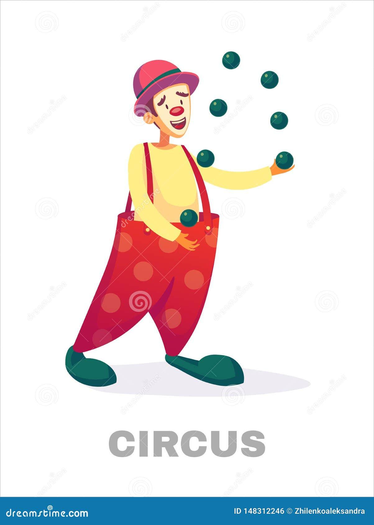 Payasos De Circo Cómico Del Payaso De La Historieta Que Hace Juegos Malabares En Traje Del Circo Con El Ejemplo Del Vector Del Gl Ilustración Del Vector Ilustración De Circo Lindo