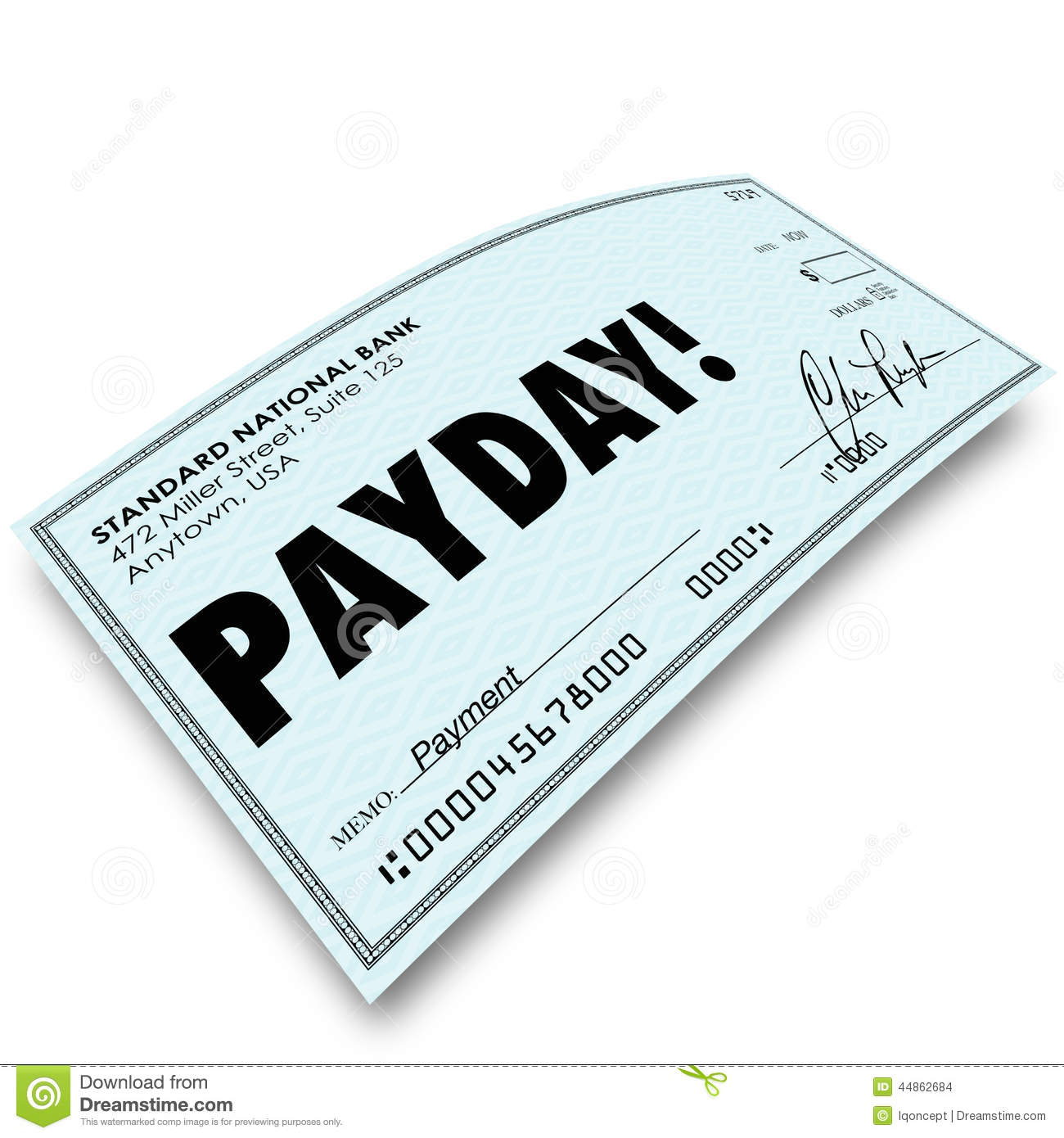 Payday word on a paper check as your earnings profit compensation or