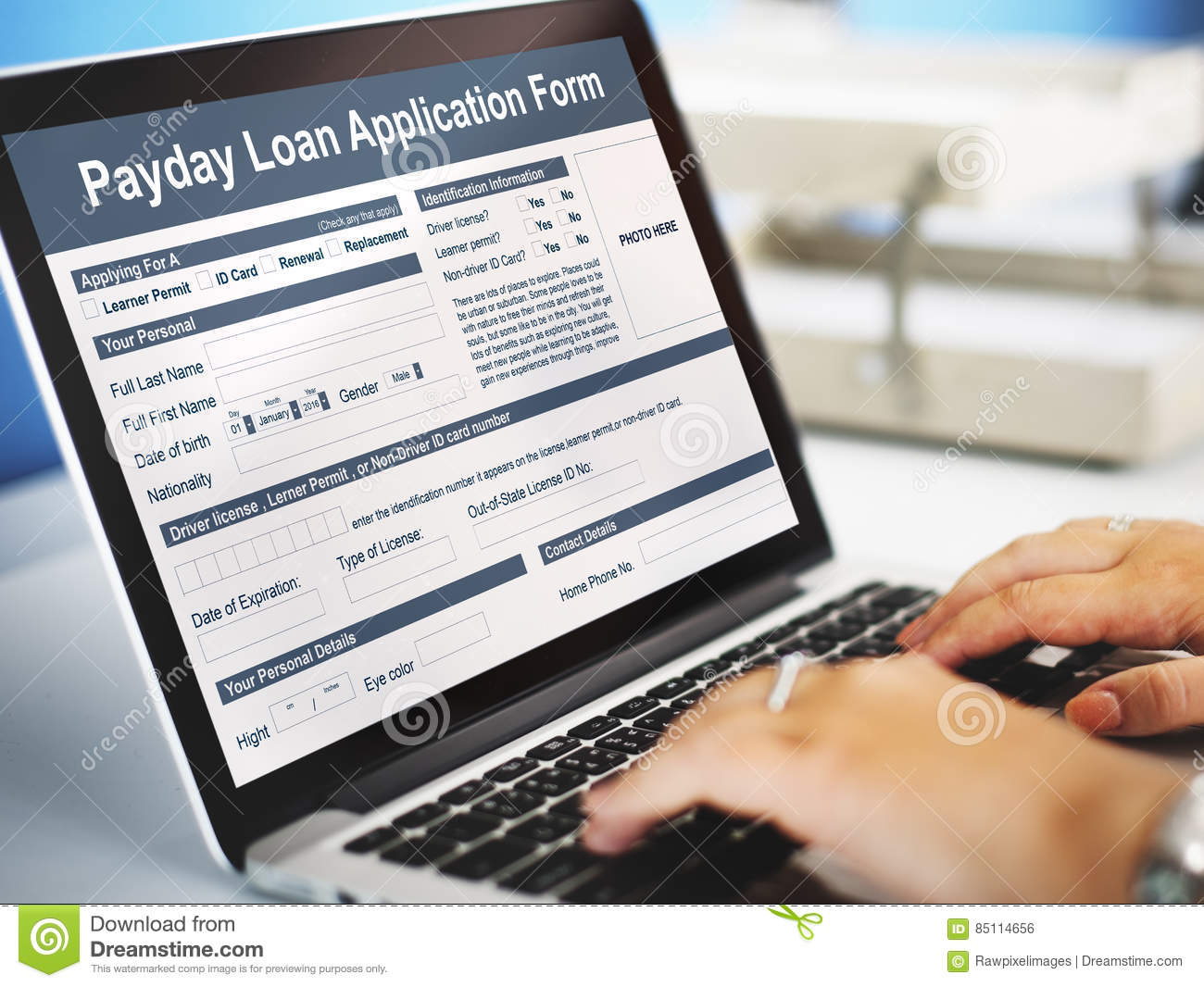 Payday Loan Application Form Salary Debt Concept Stock Photo Image Of Borrowing Bookkeeping 85114656
