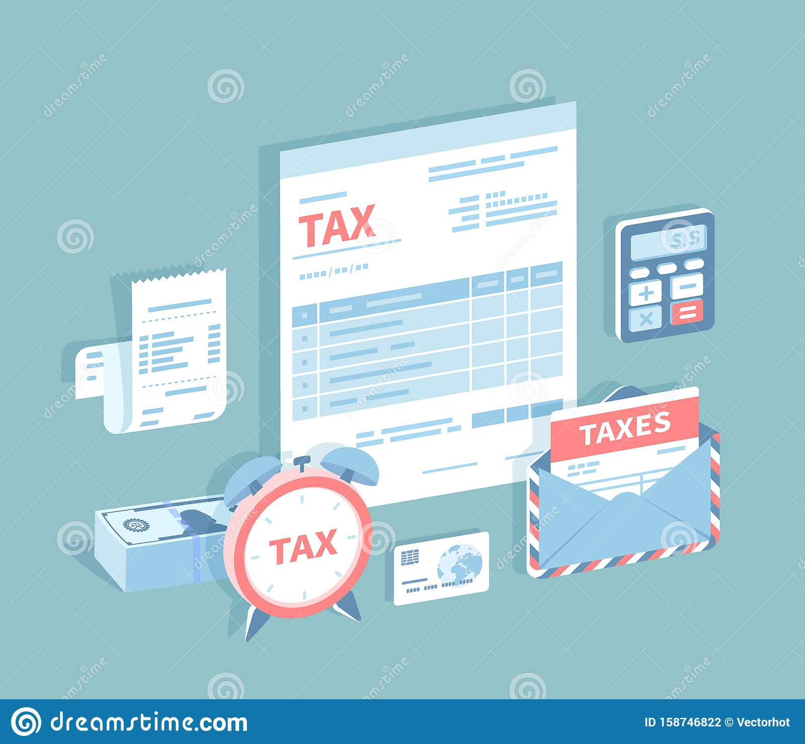 Payment Of Accounts And Taxes. Filling And Calculating Tax Form. Document Form, Bill