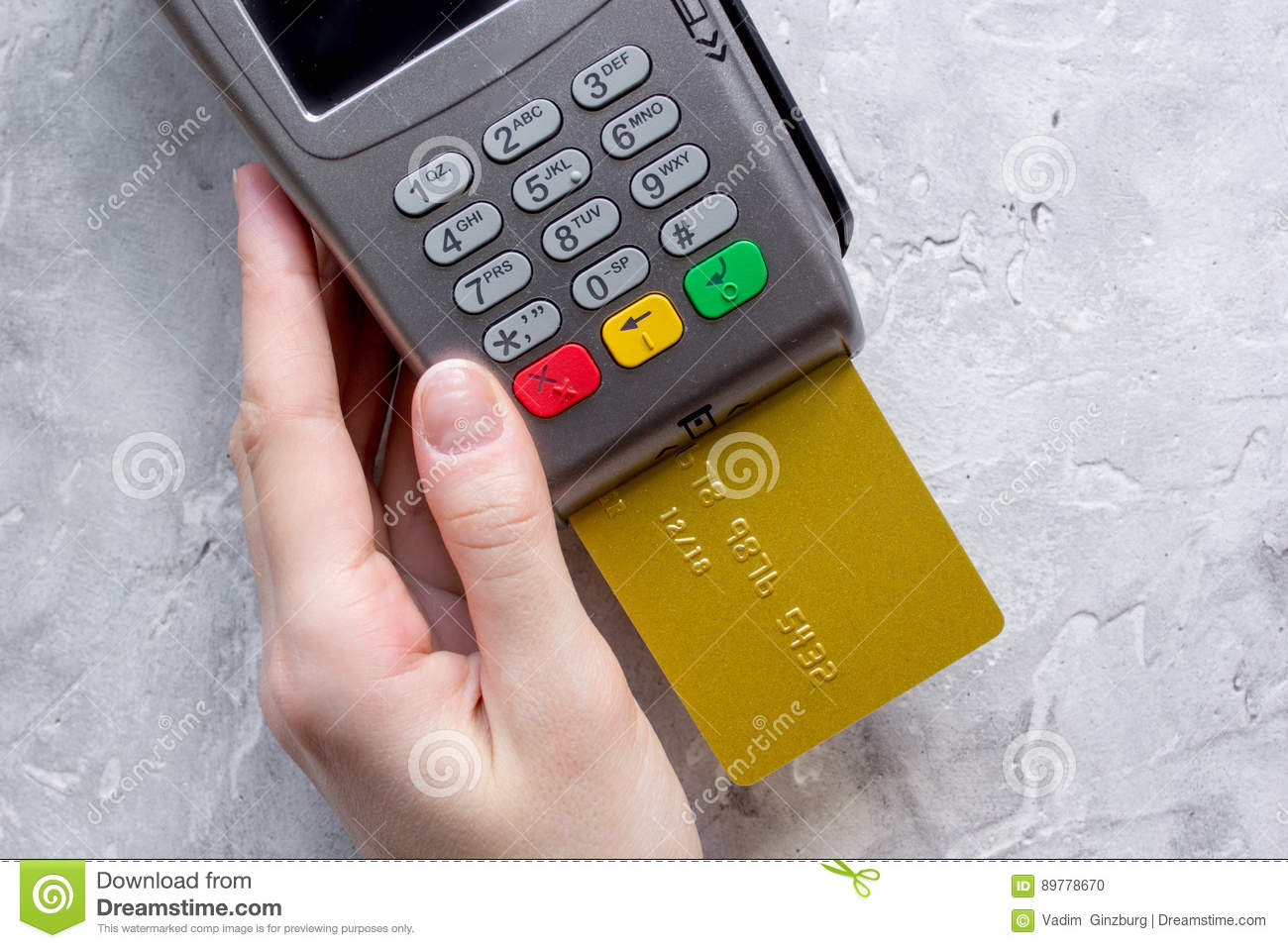 Payment Terminal With Card On Table Background Top View ...