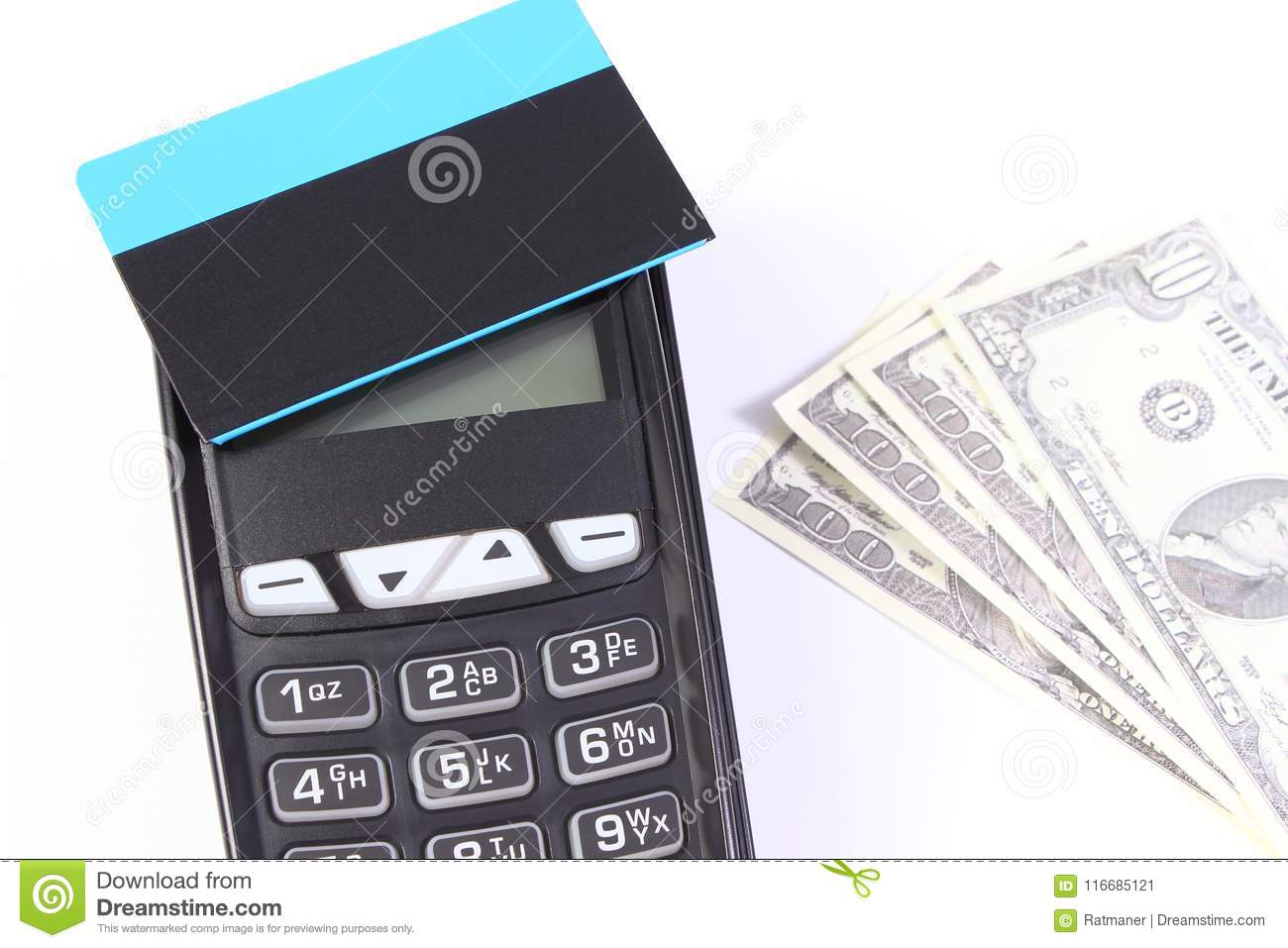Payment Terminal With Contactless Credit Card And Currencies Dollar ...