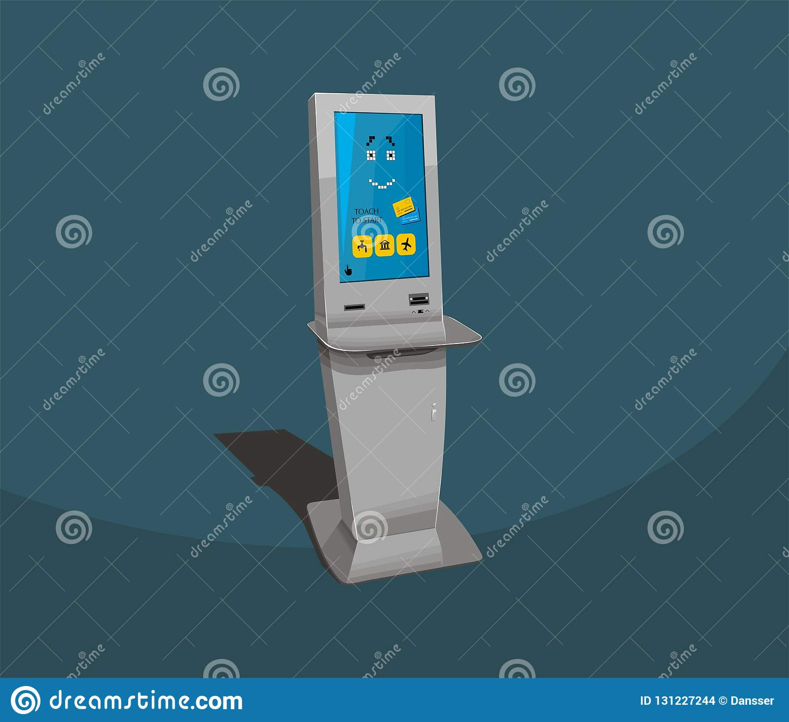 Gray Payment Terminal, Digital Touch Screen, Interactive