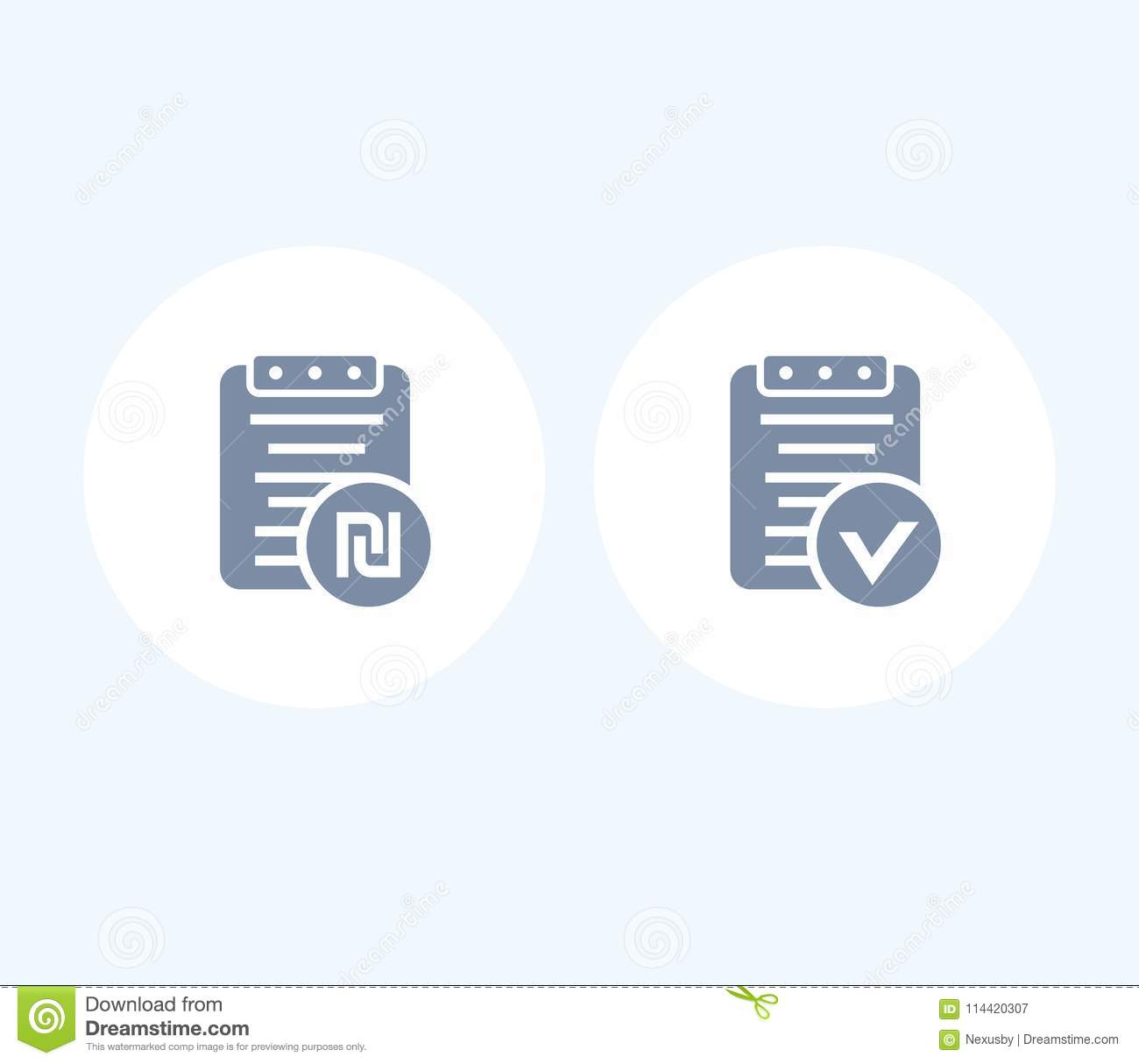 Payroll, Bill With Shekel Sign Isolated Icons Stock Vector