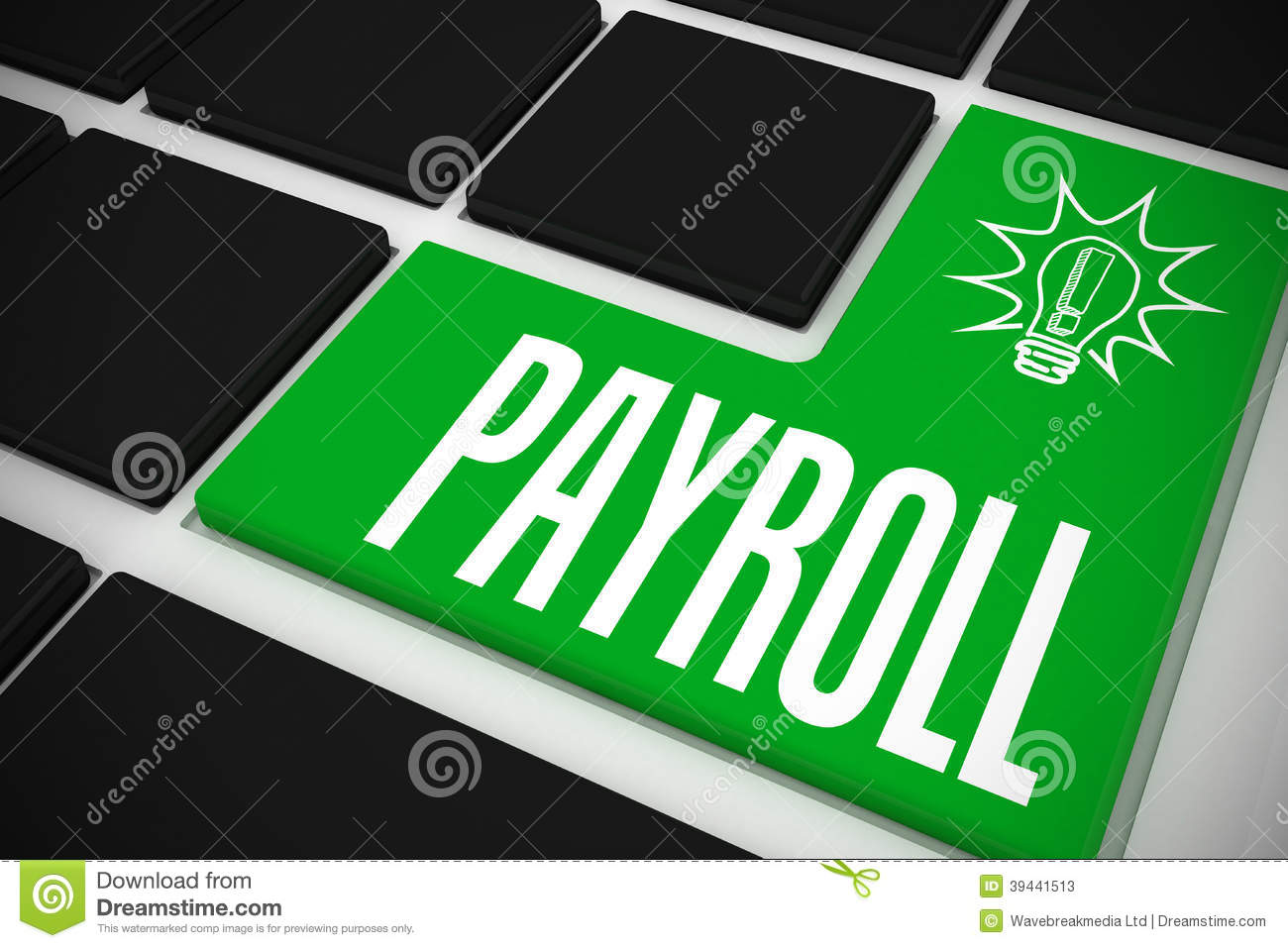 Payroll On Black Keyboard With Green Key Stock Photo - Image: 39441513