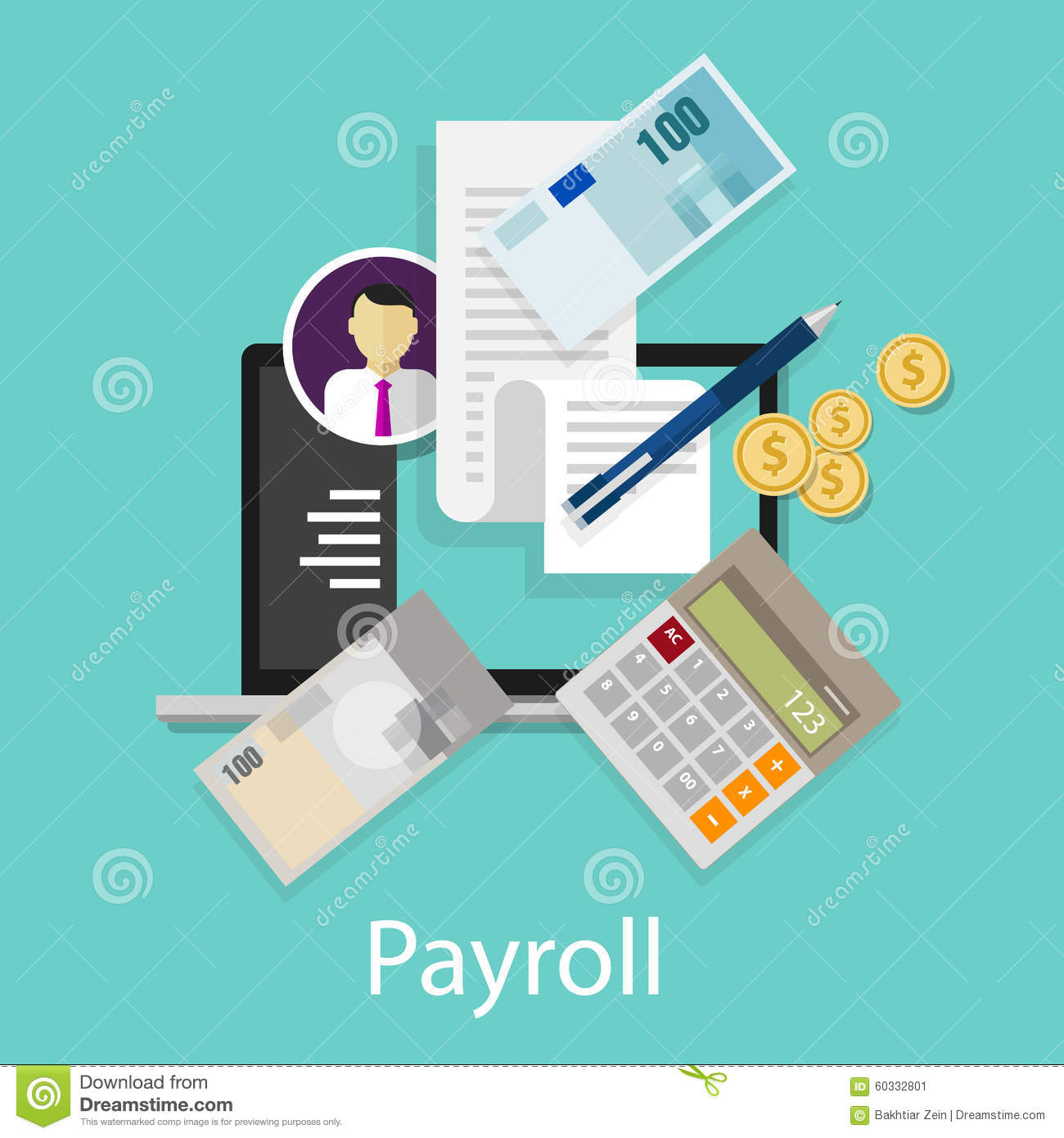 Payroll Salary Accounting Payment Wages Money Calculator ...