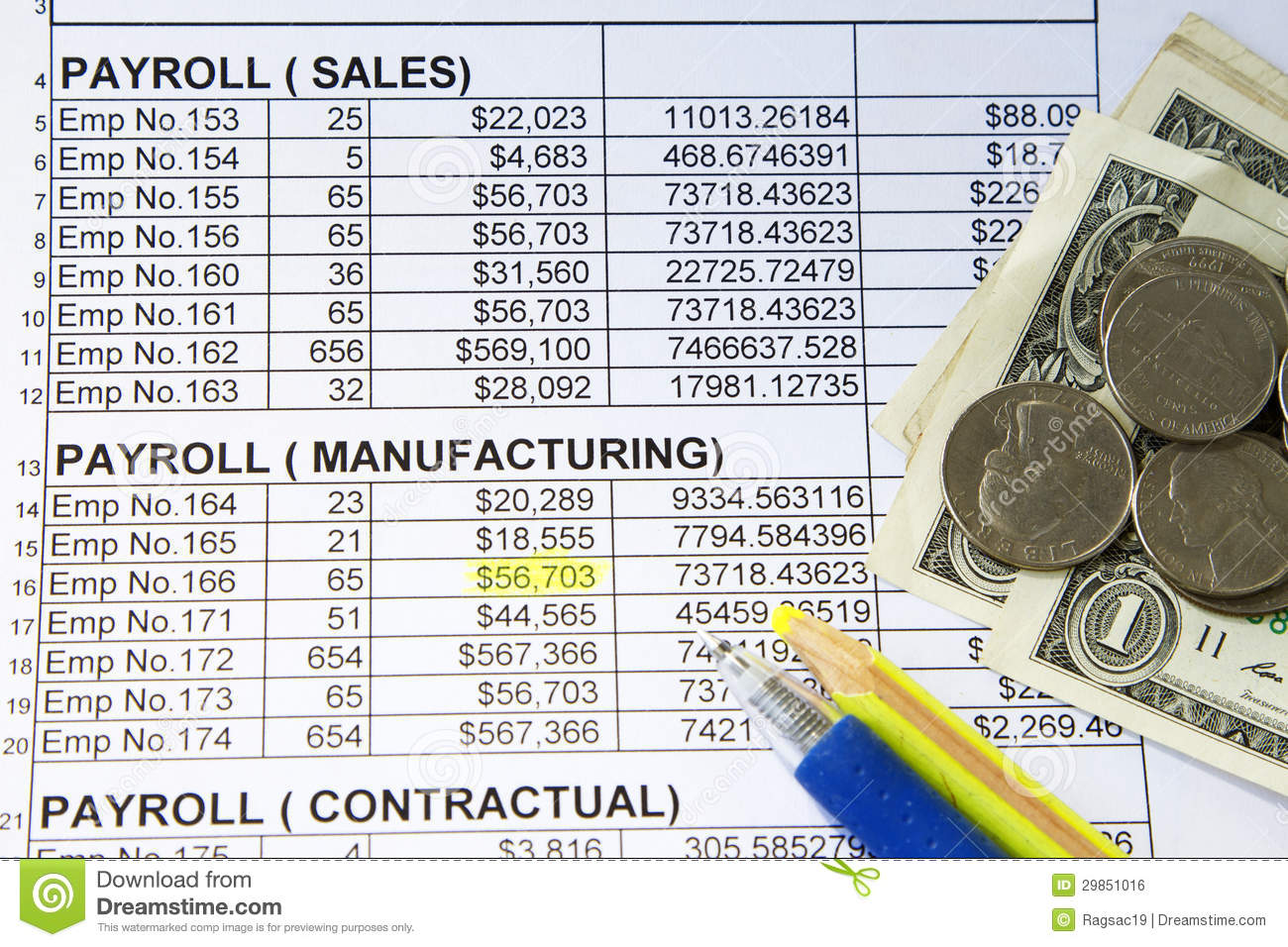 Payroll Spreadsheet Royalty Free Stock Image - Image: 29851016