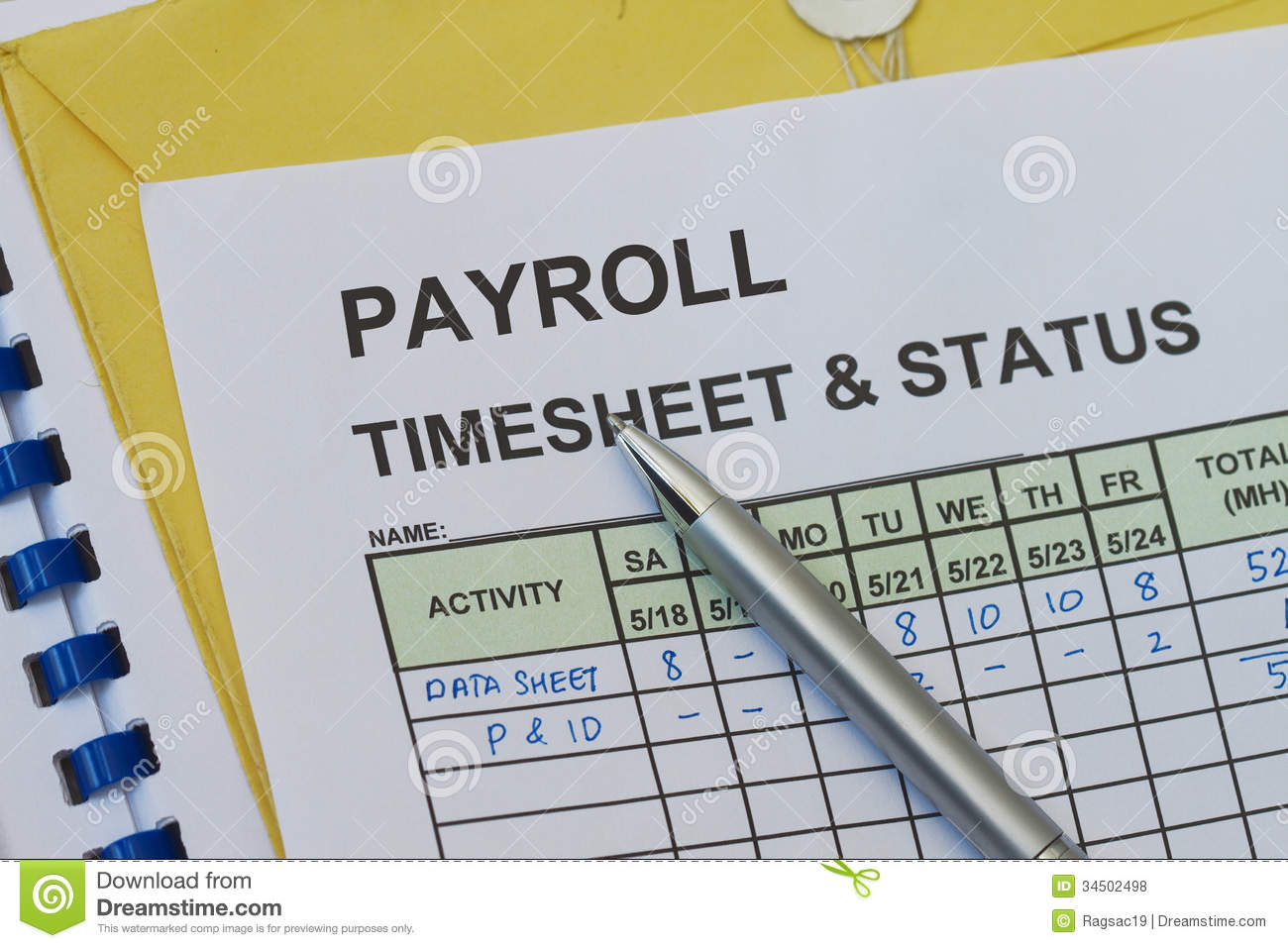 Payroll Weekly timesheet, with pen. Timekeeping record and payroll.